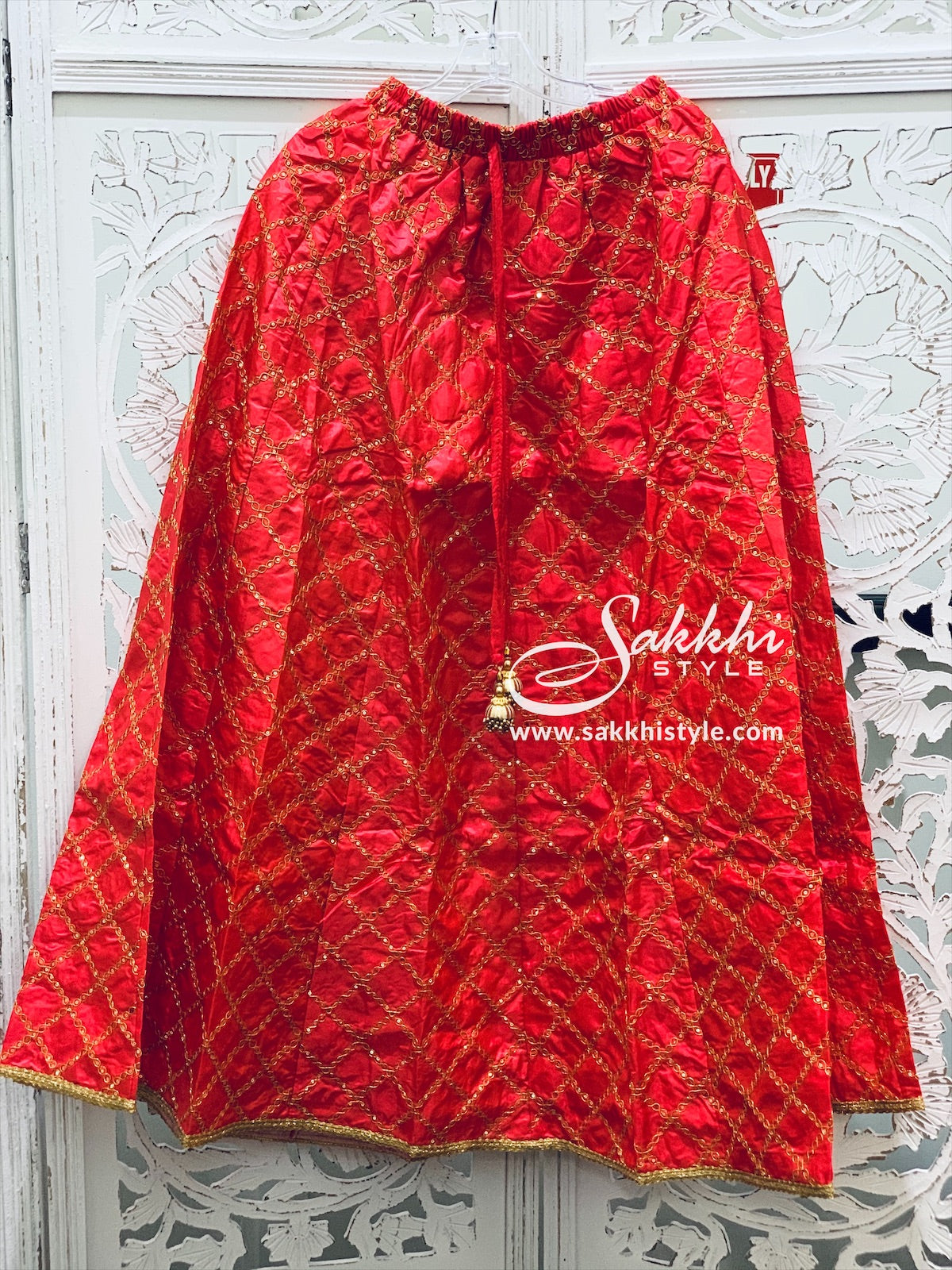 Red and Gold Skirt - Sakkhi Style