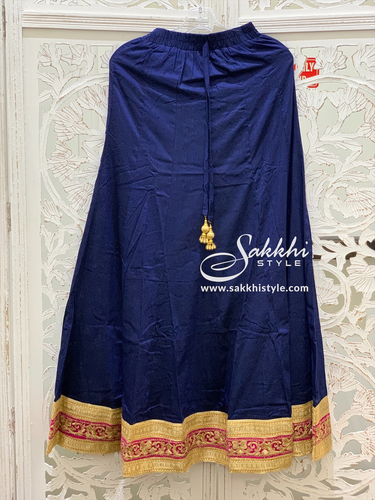 Navy Blue and Gold Skirt
