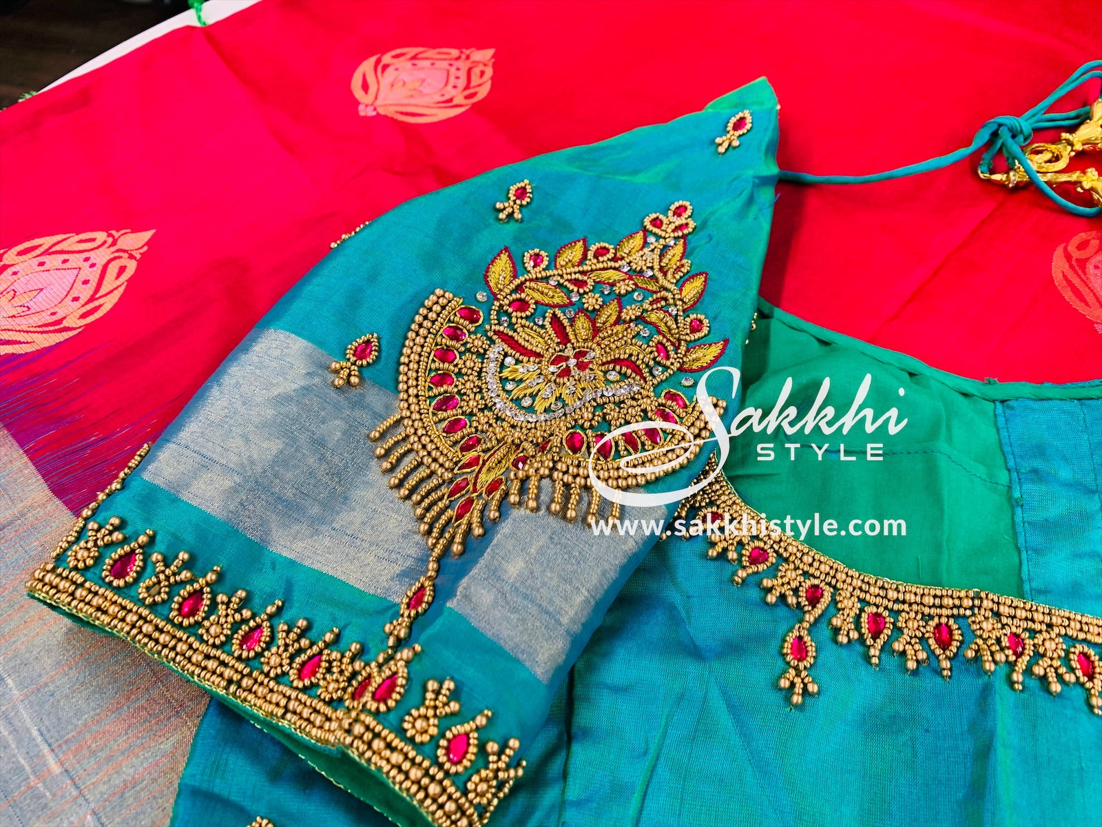 Pink and Turquoise Pure Silk Saree