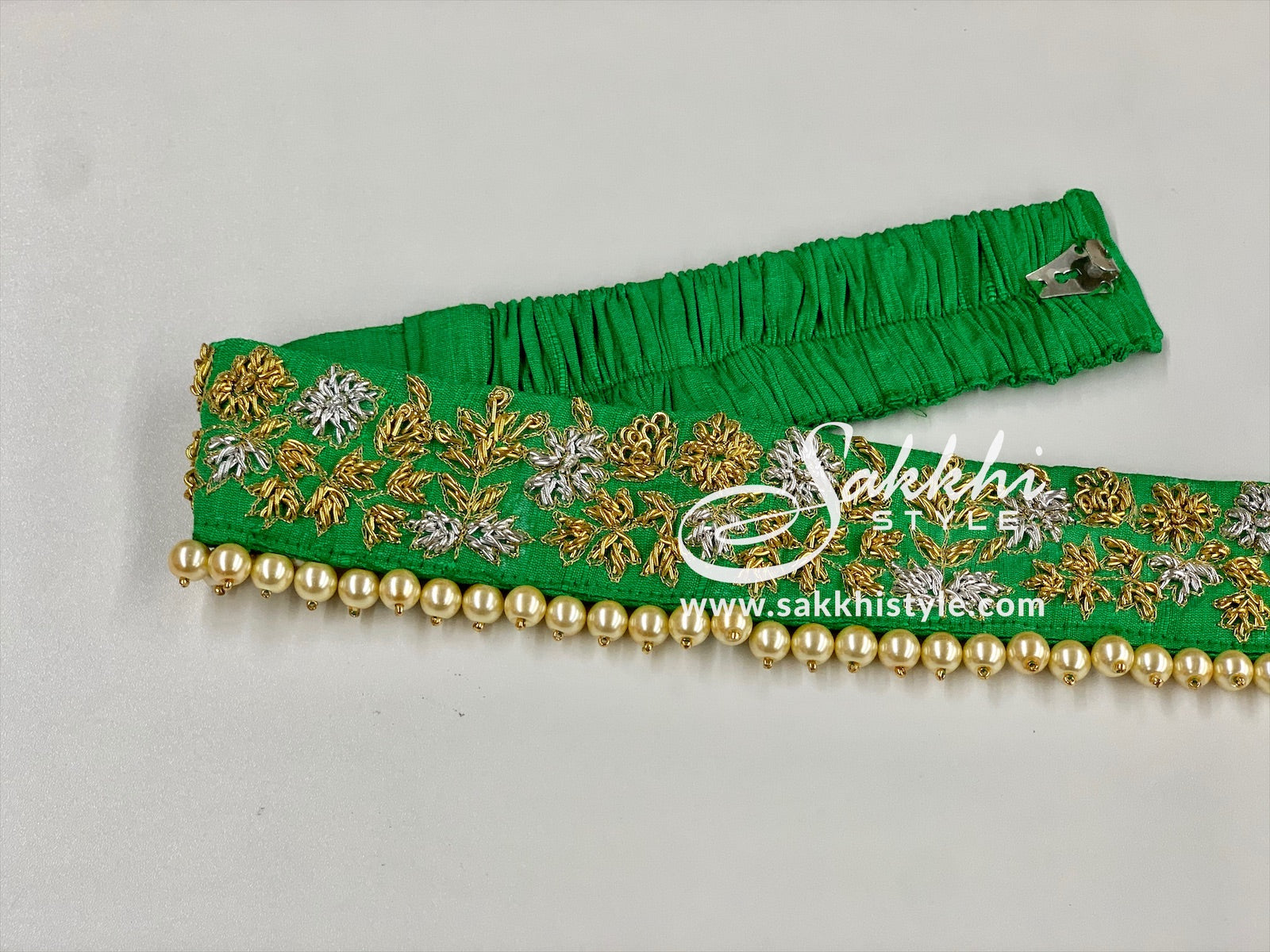 Green Embroidered Waist Belt