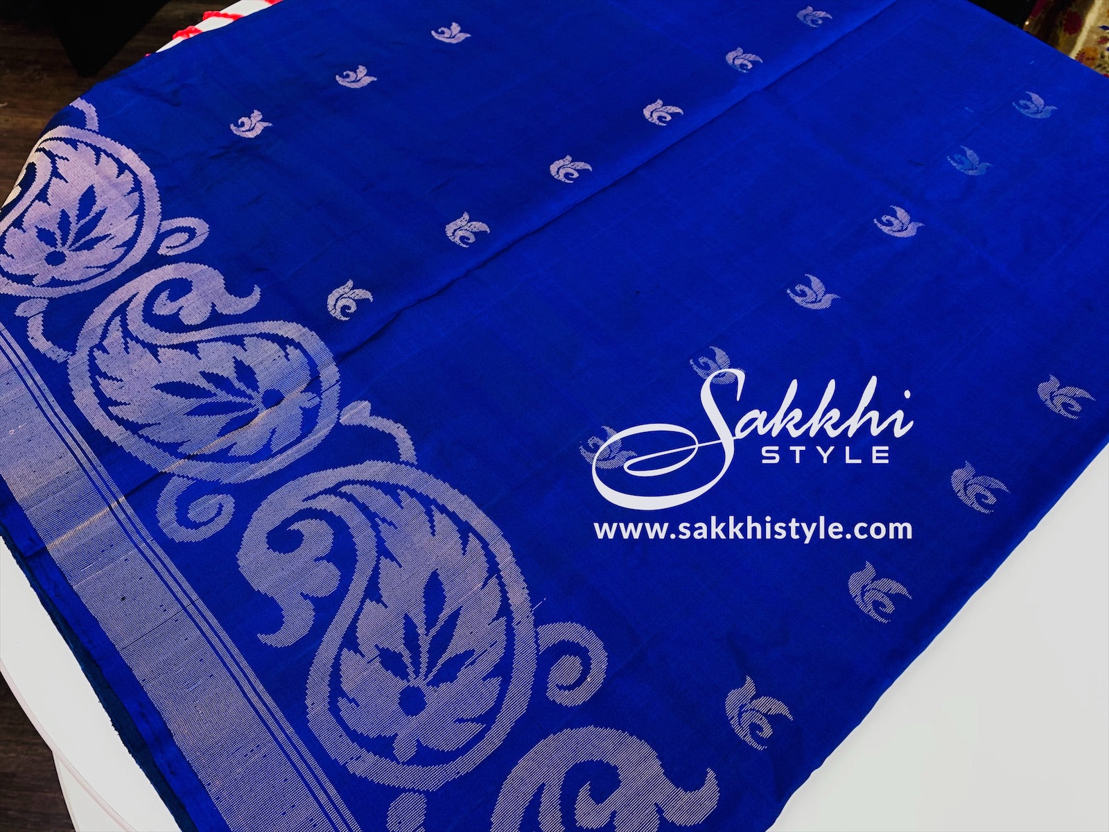 Blue and Peach/Pink Kanjeevaram Pure Silk Saree