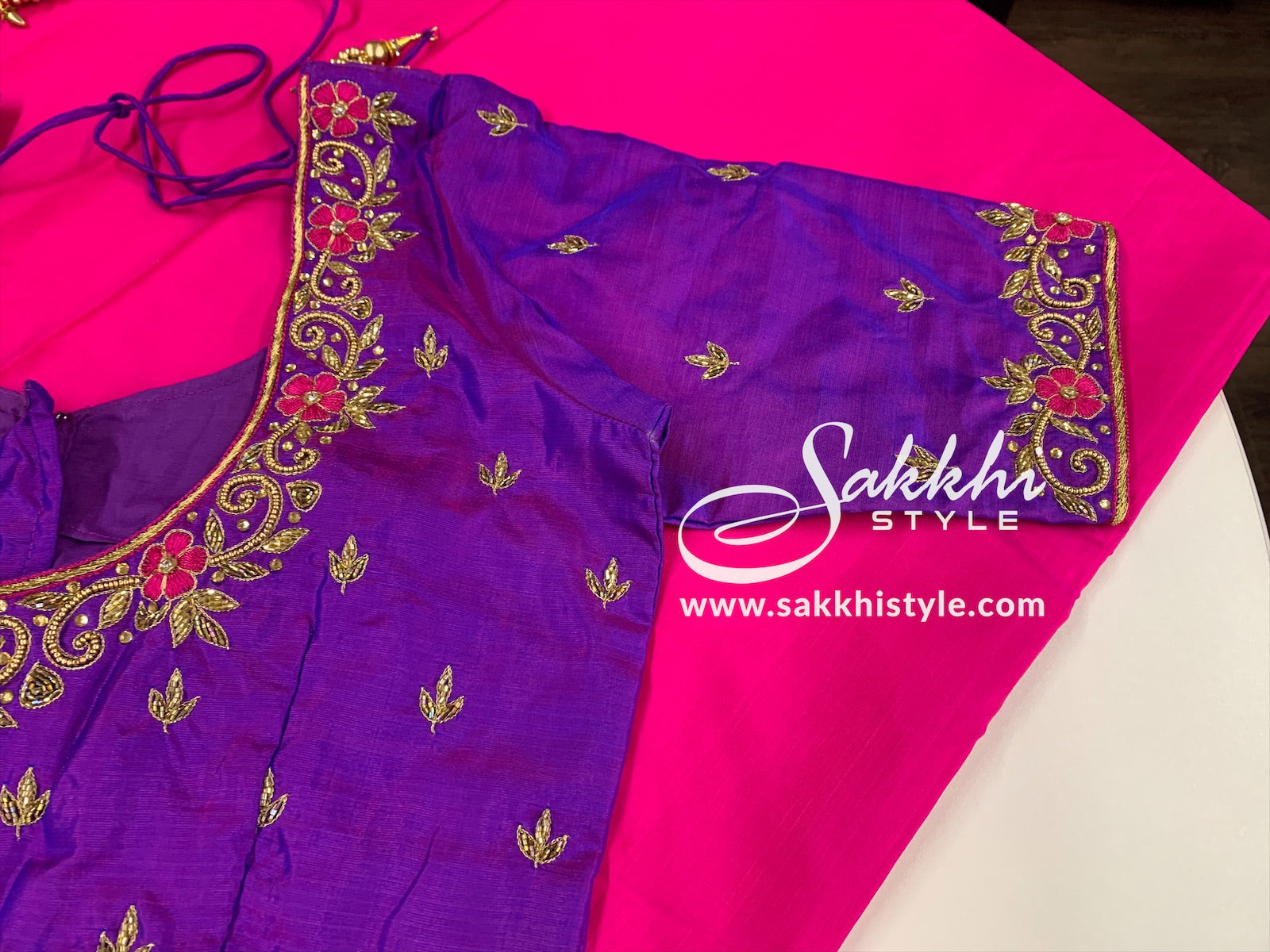 Pink and Purple Kanjeevaram Pure Silk Saree