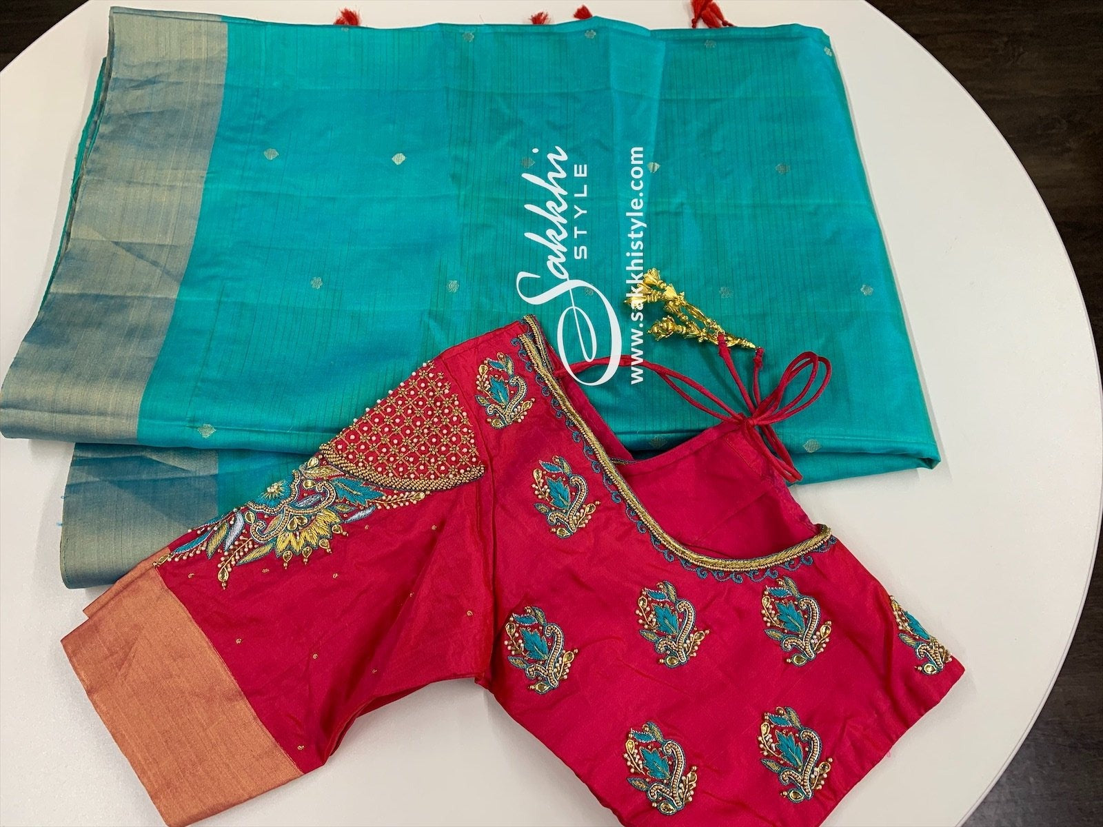 Blue and Pink Kanjeevaram Pure Silk Saree