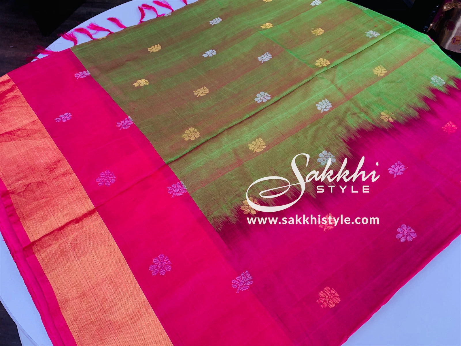 Green and Pink Uppada Pattu Saree