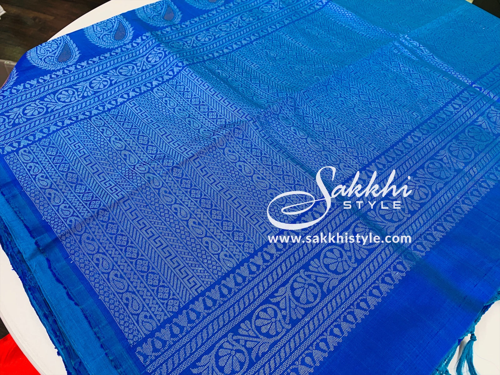Blue and Silver Kanjeevaram Pure Silk Saree