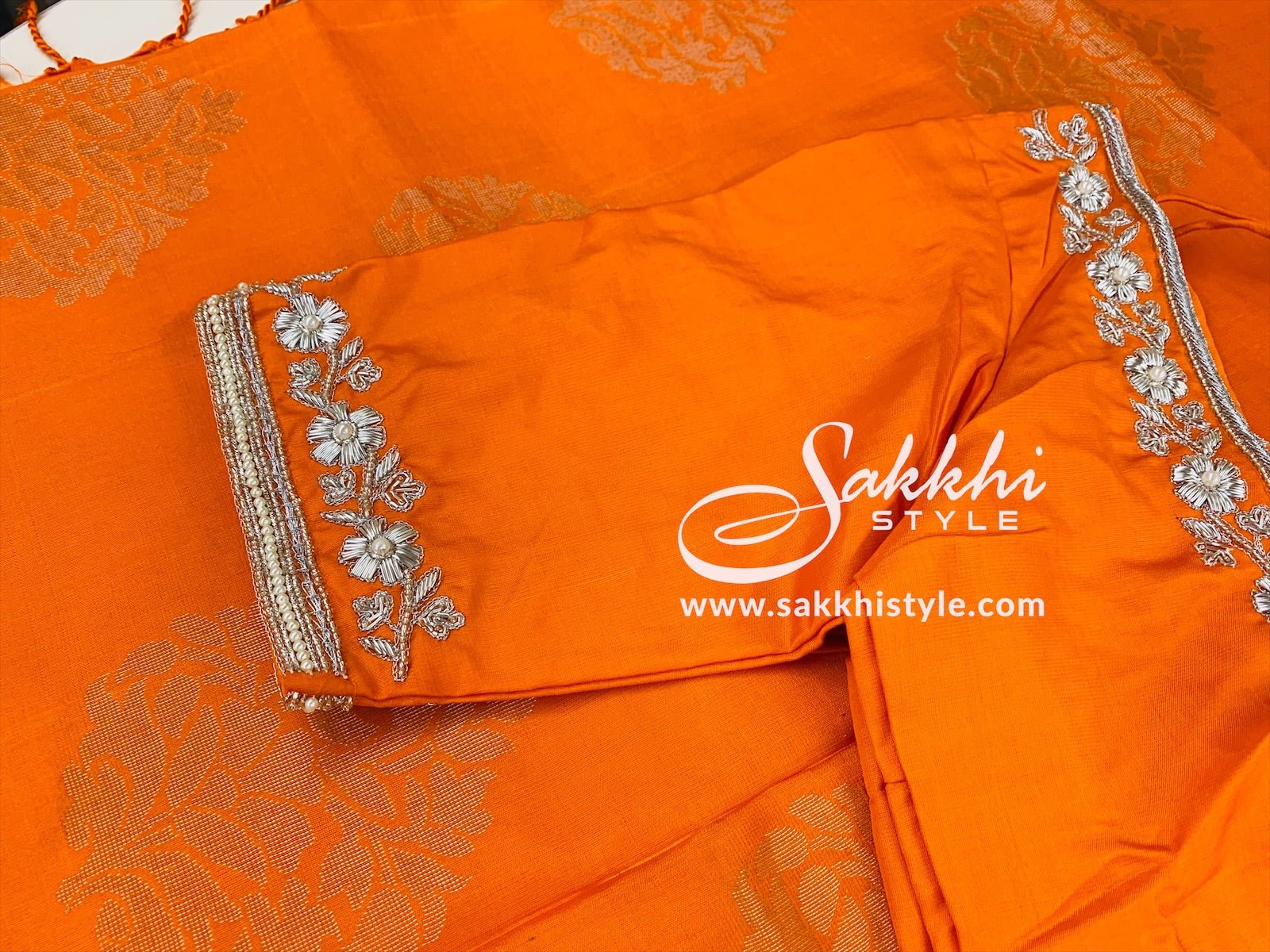 Orange Kanjeevaram Pure Silk Saree - Sakkhi Style