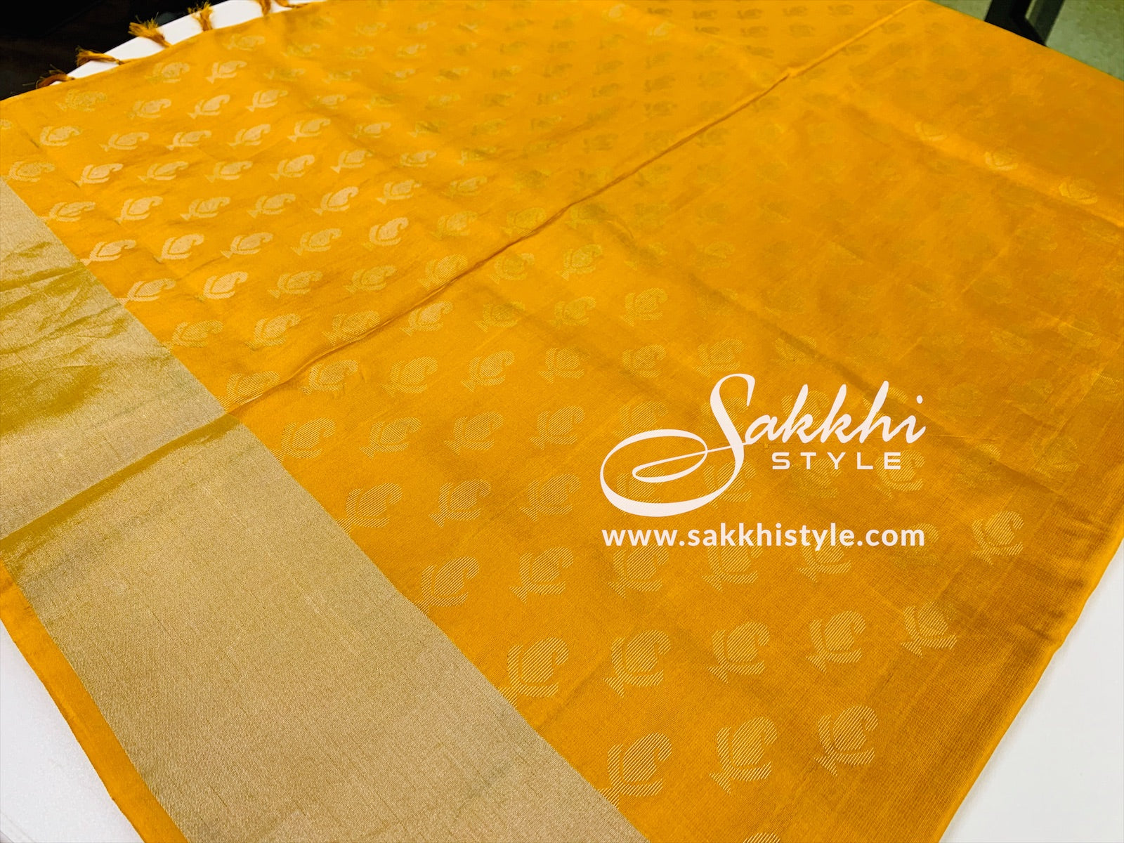 Yellow and Gold Kanjeevaram Pure Silk Saree