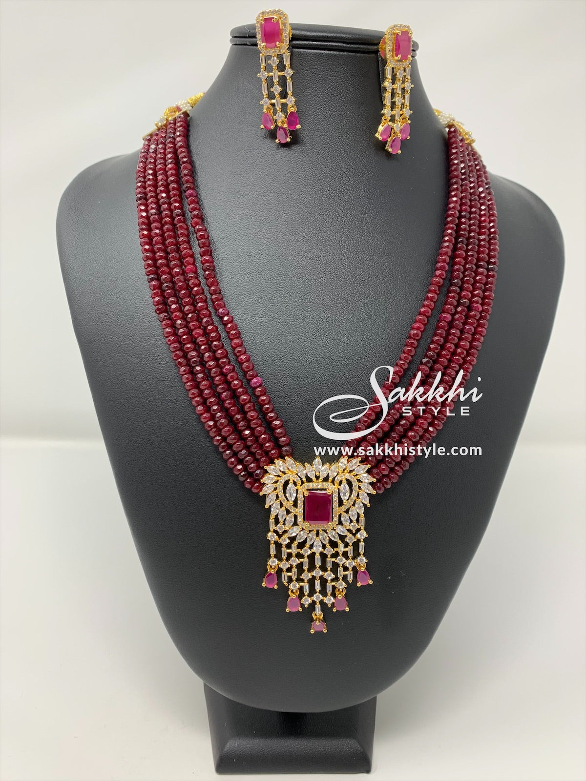 Pink Crystal Beads Necklace Set