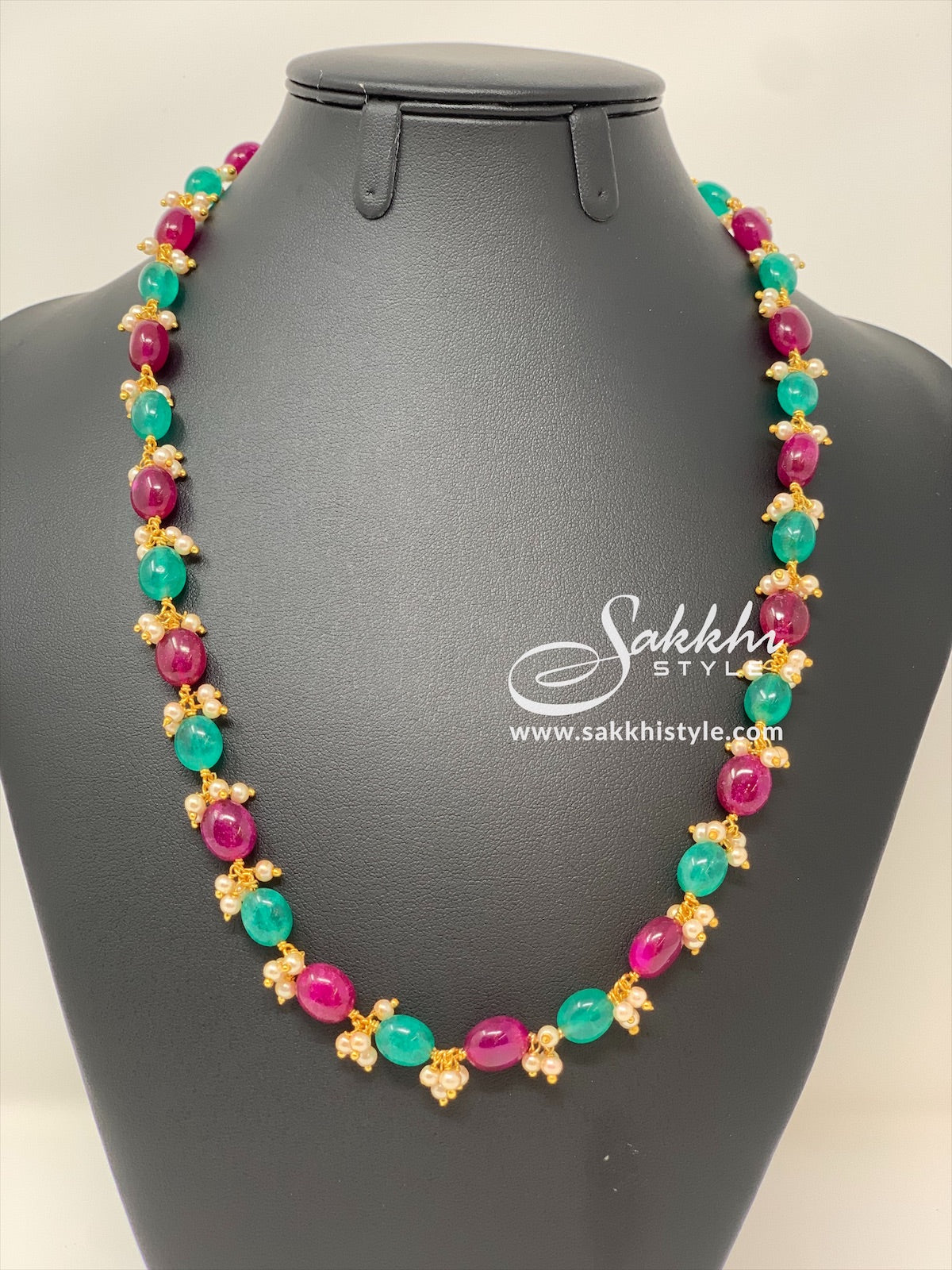 Green and Pink Beads Necklace