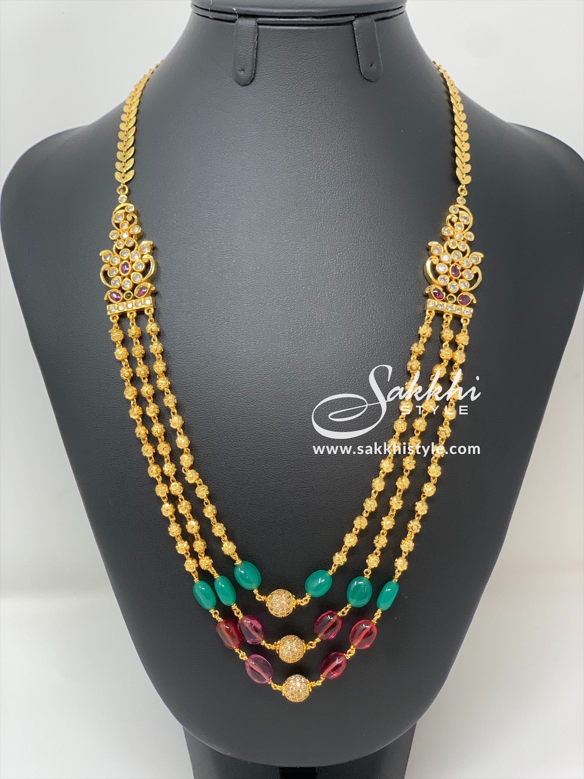Gundla Mala Necklace with Green and Pink Beads - Sakkhi Style