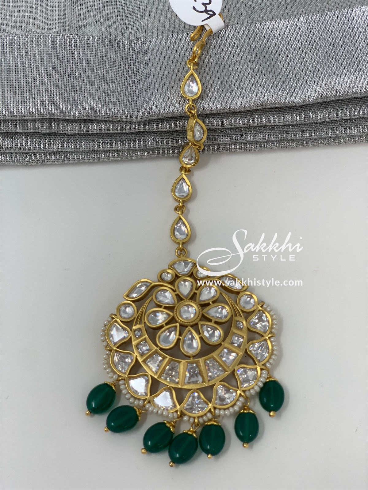 Kundan Maang Tikka with Green Beads