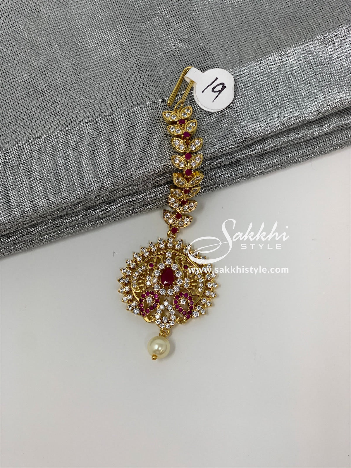 Semi Rubies and CZ Stones Maang Tikka