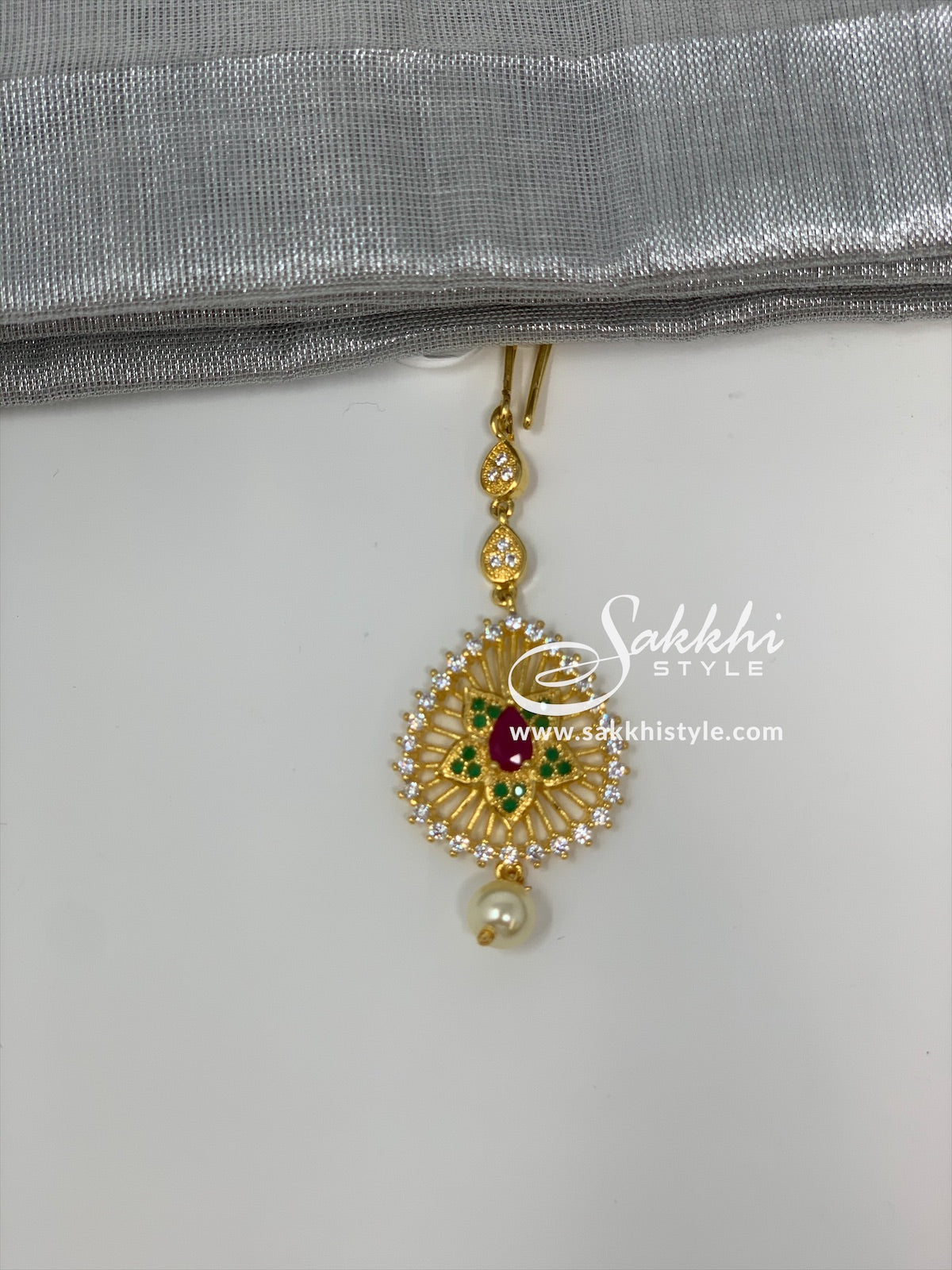 Semi Rubies and Emeralds CZ Stones Maang Tikka