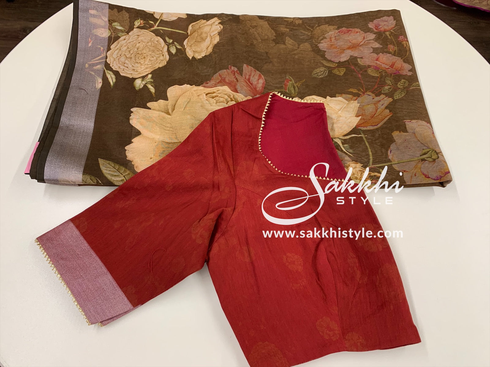 Brown and Maroon Linen Saree