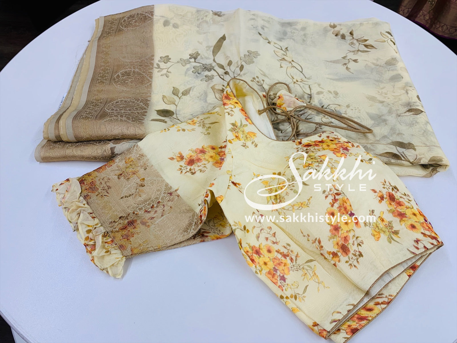 Cream and Gold Floral Organza Saree