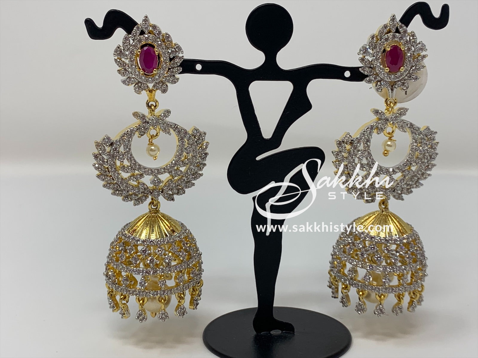 CZ Stones with Semi Ruby Jhumka Earrings