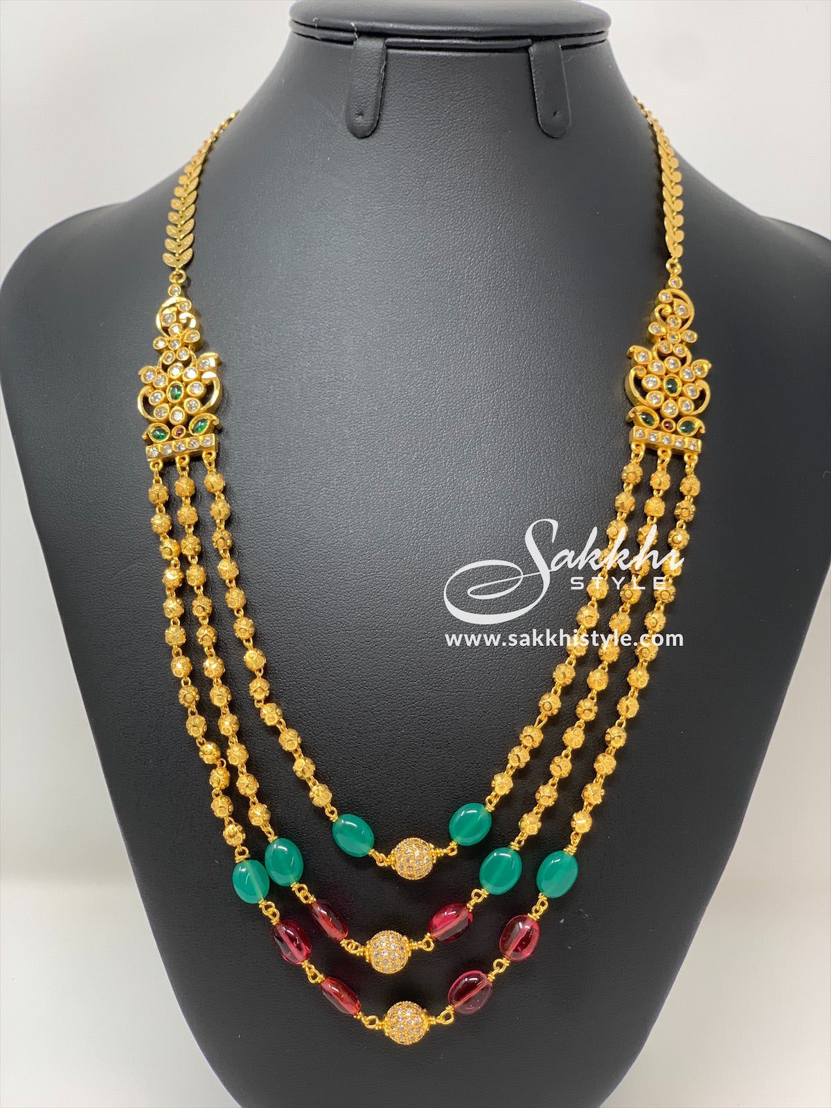 Gundla Mala Necklace with Green and Pink Beads