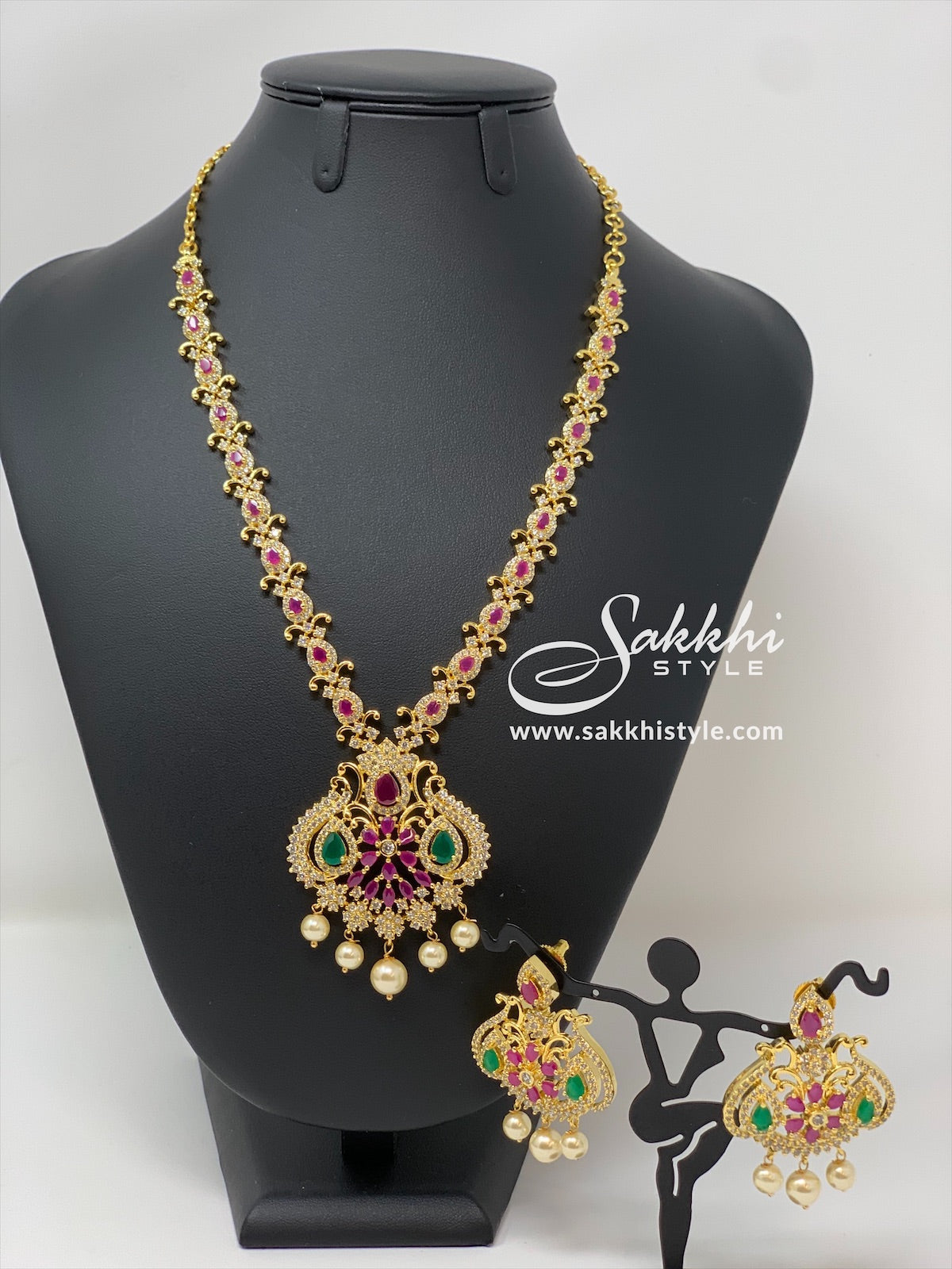 Semi Rubies and CZ Stones Necklace Set