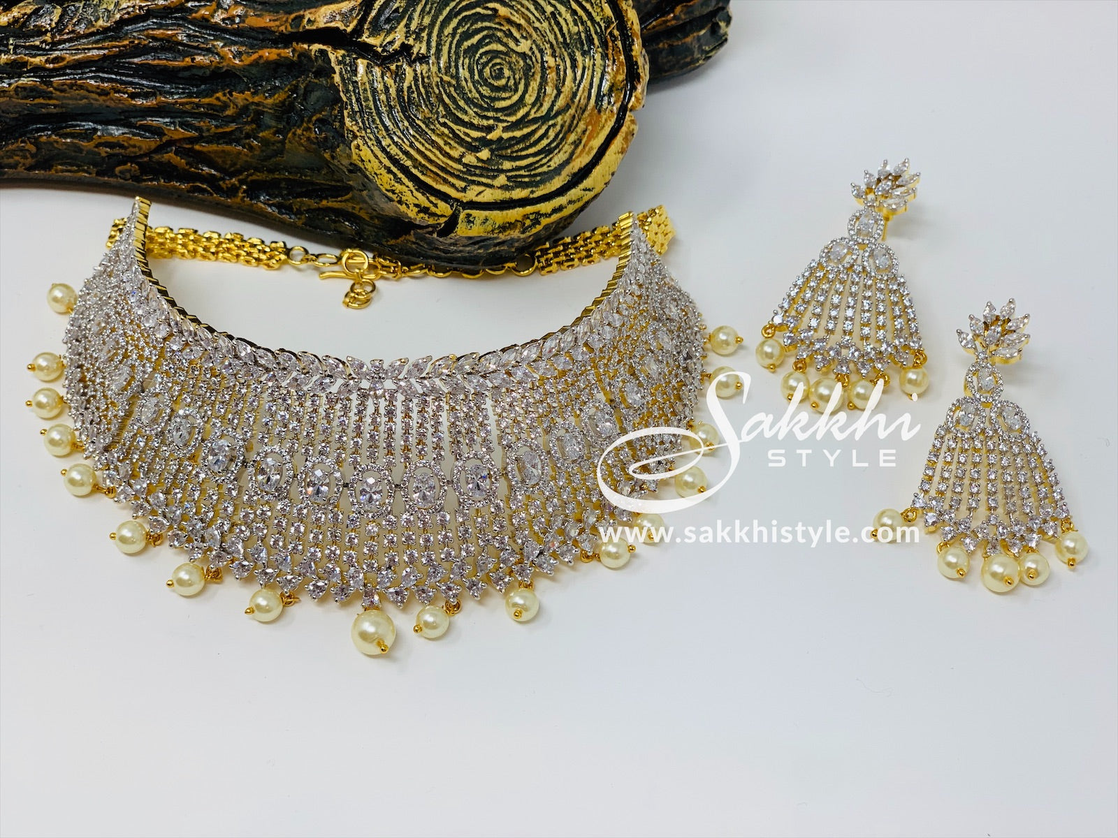 Diamond Cut CZ Stones Choker Necklace Set - Sakkhi Style