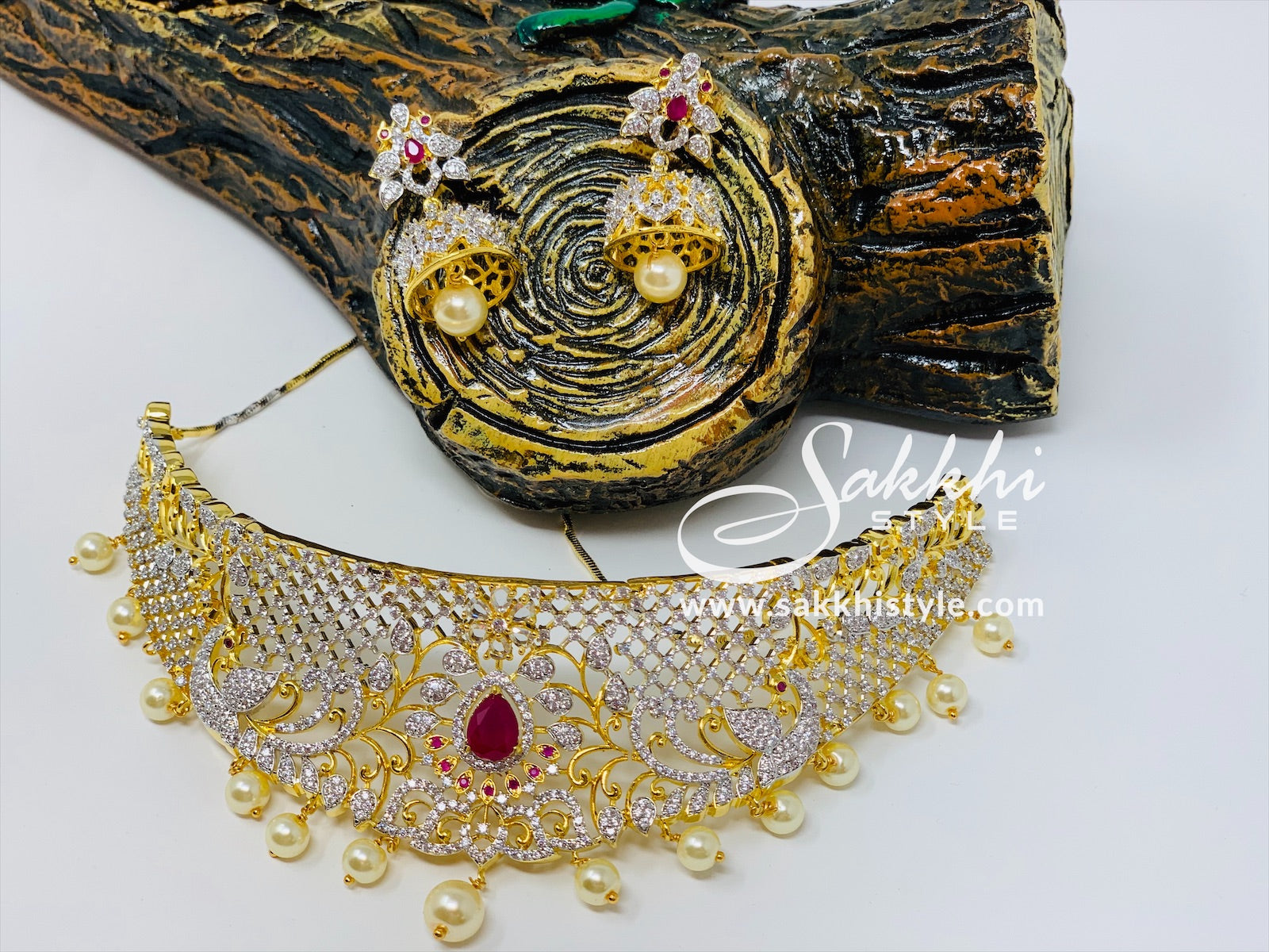 CZ Stones and Semi Rubies Choker Necklace Set