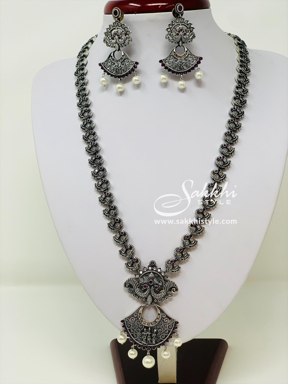 Oxidized Silver Necklace with Ram Parivar Pendant
