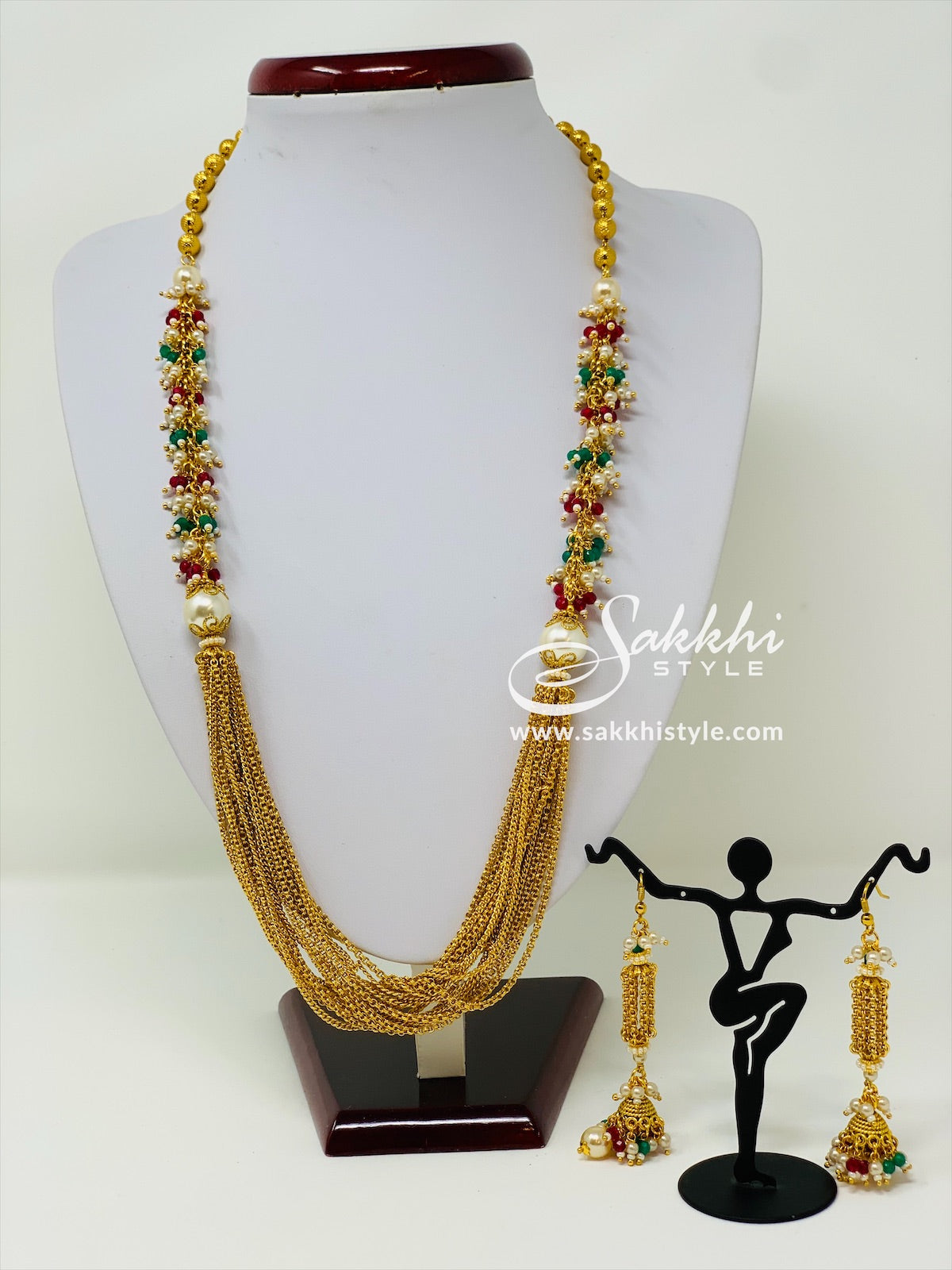 Multi Layer Necklace with Pearl and Beads Cluster
