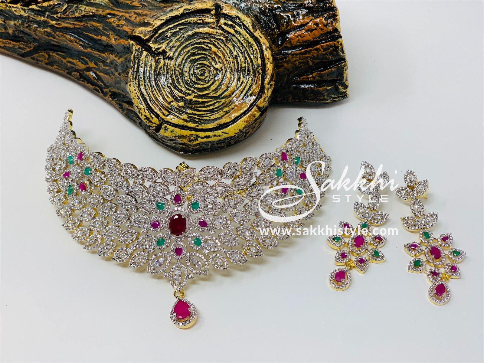 Semi Rubies and Emeralds CZ Stones Choker Necklace Set