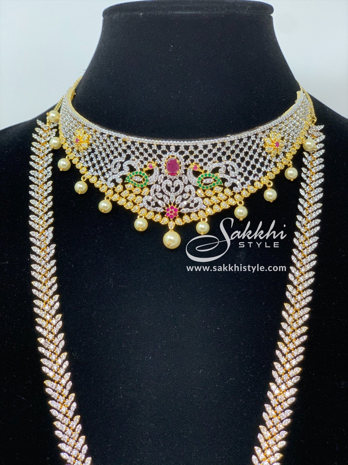 CZ Stones Choker and Necklace Bridal Set