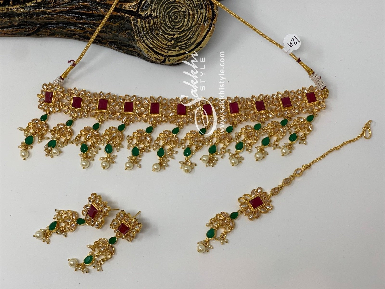 Semi Rubies and Emeralds Kundan Necklace Set