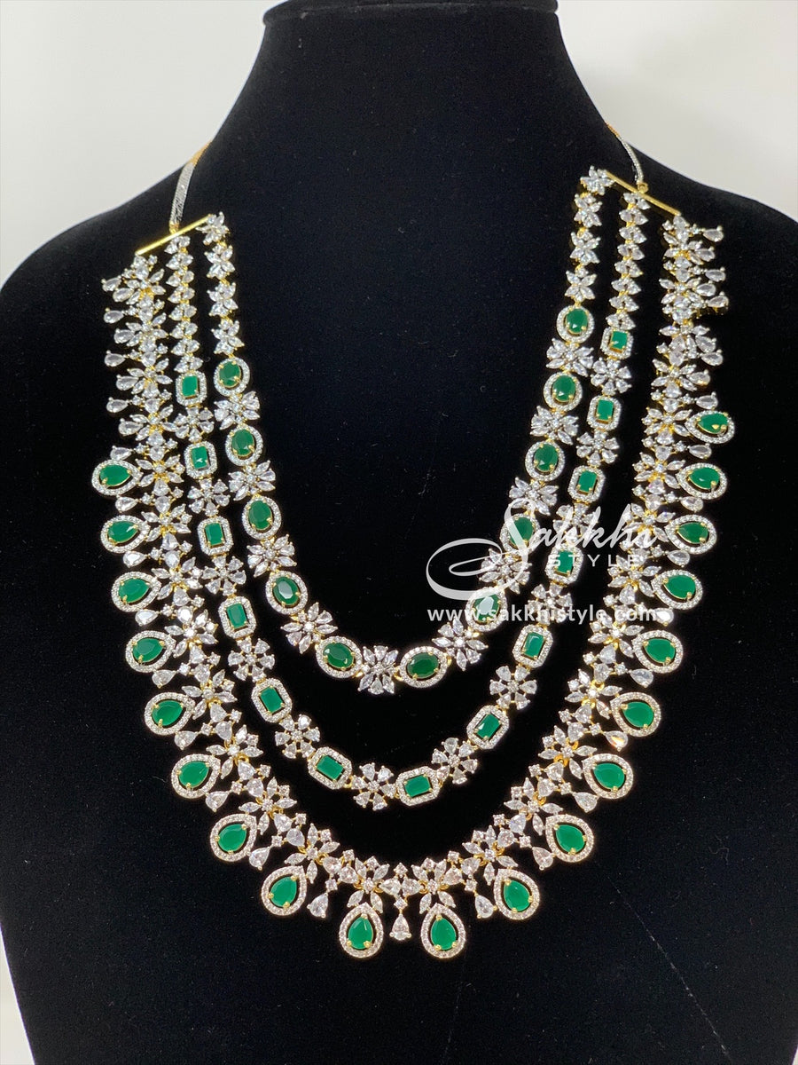 3 Steps CZ Stones and Semi Emeralds Necklace Set