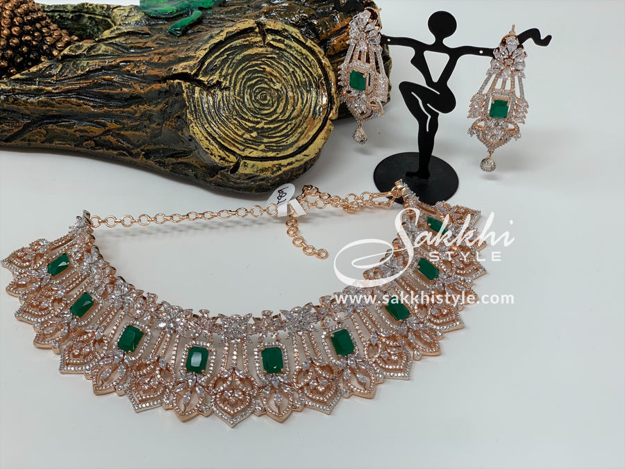 Diamond Cut CZ Stones and Semi Emeralds Rose Gold Choker Set