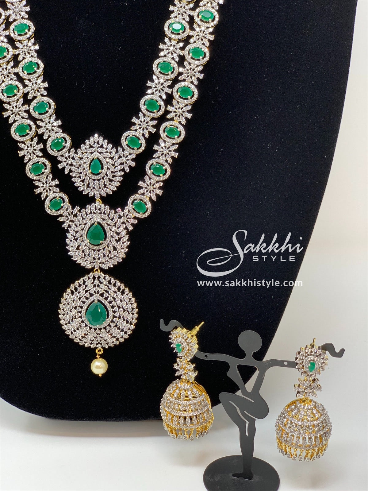 2 Steps CZ Stones and Semi Emeralds Necklace Set