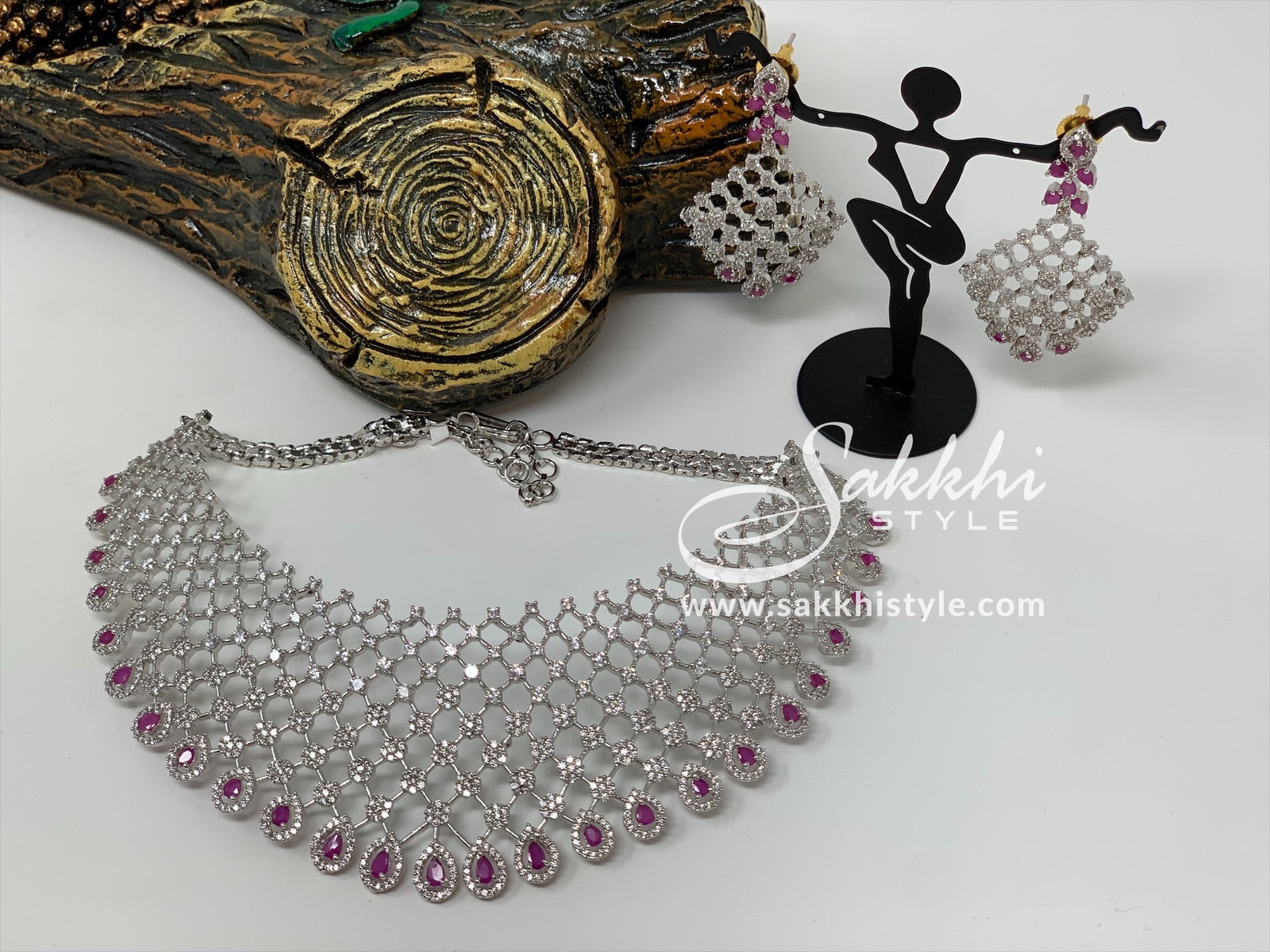 Diamond Cut CZ Stones and Semi Rubies Choker Necklace