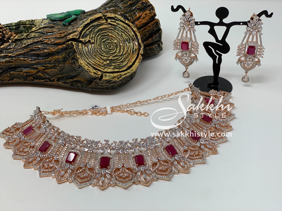 Diamond Cut CZ Stones and Semi Rubies Rose Gold Choker Set