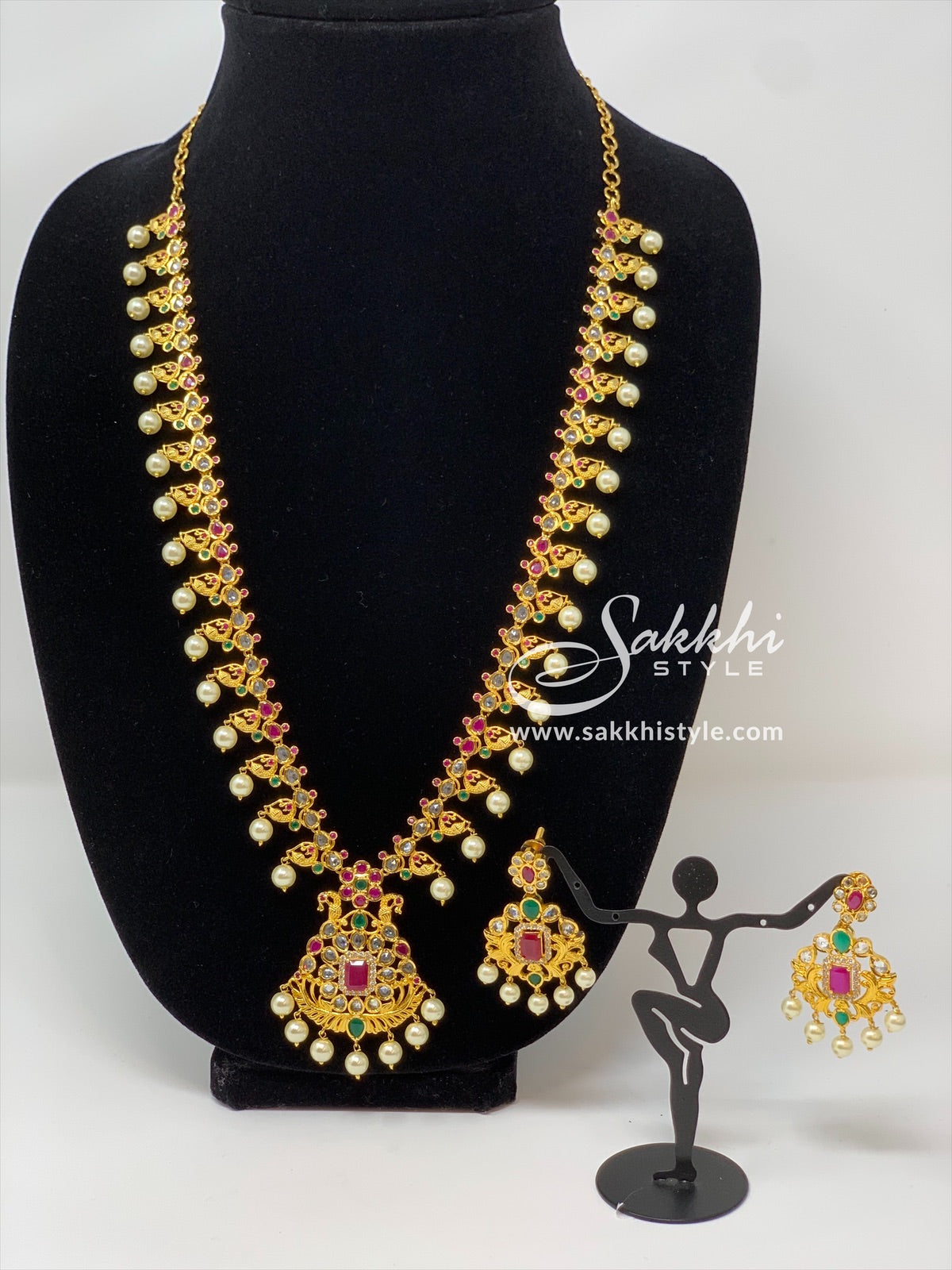 Peacock Motifs Necklace Set with Pearl Drops