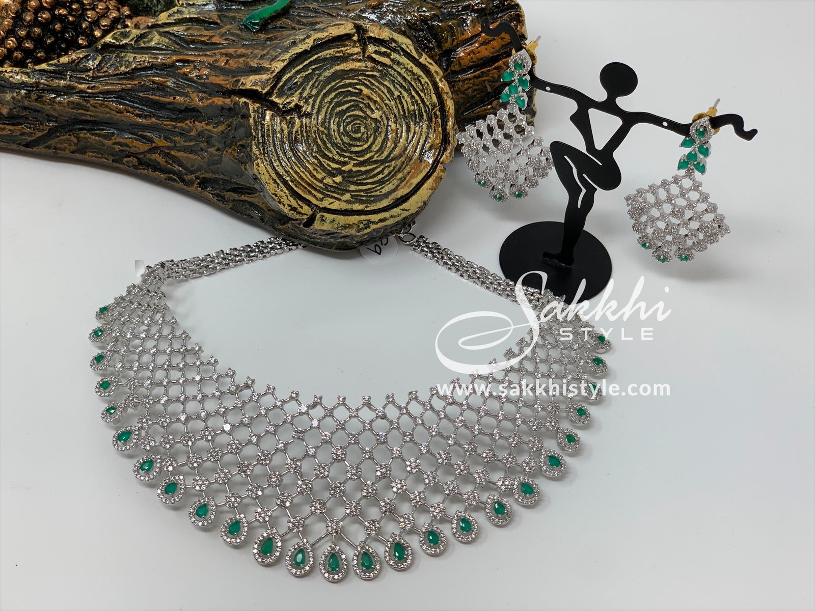 Diamond Cut CZ Stones and Semi Emeralds Choker Necklace
