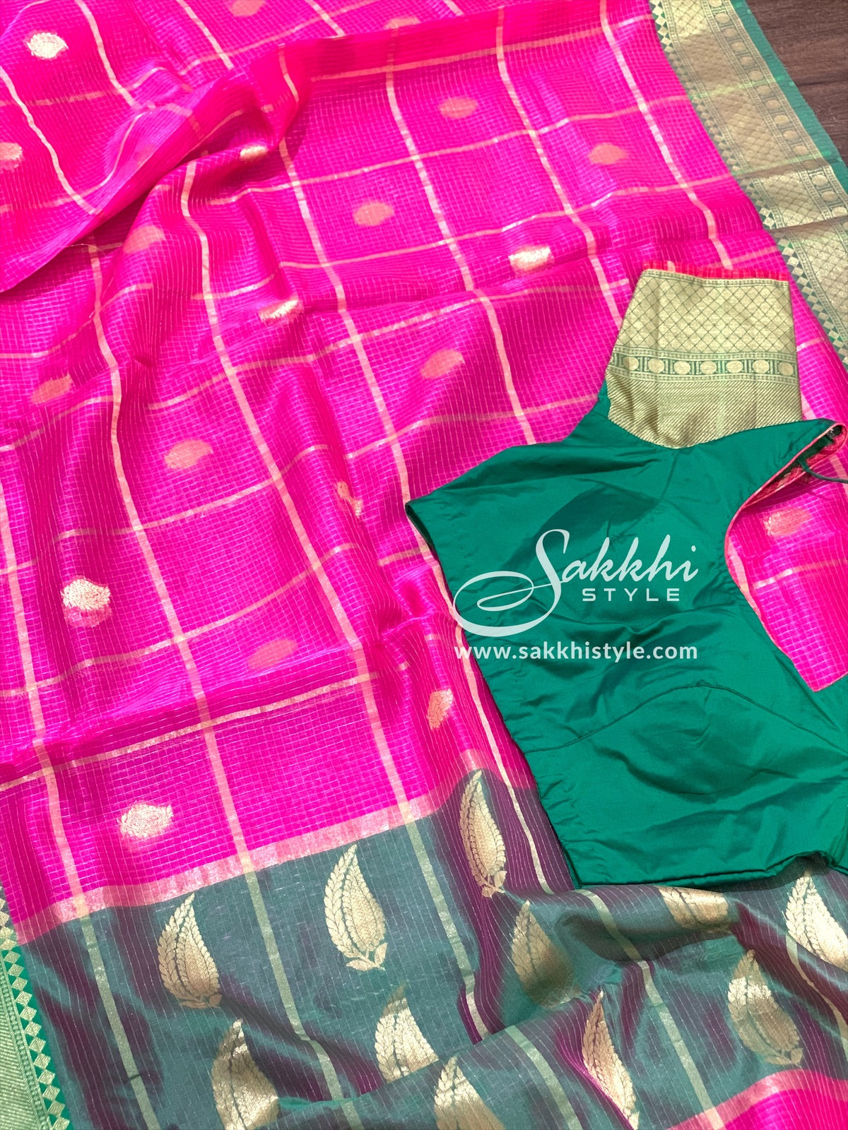 Pink and Green Organza Saree