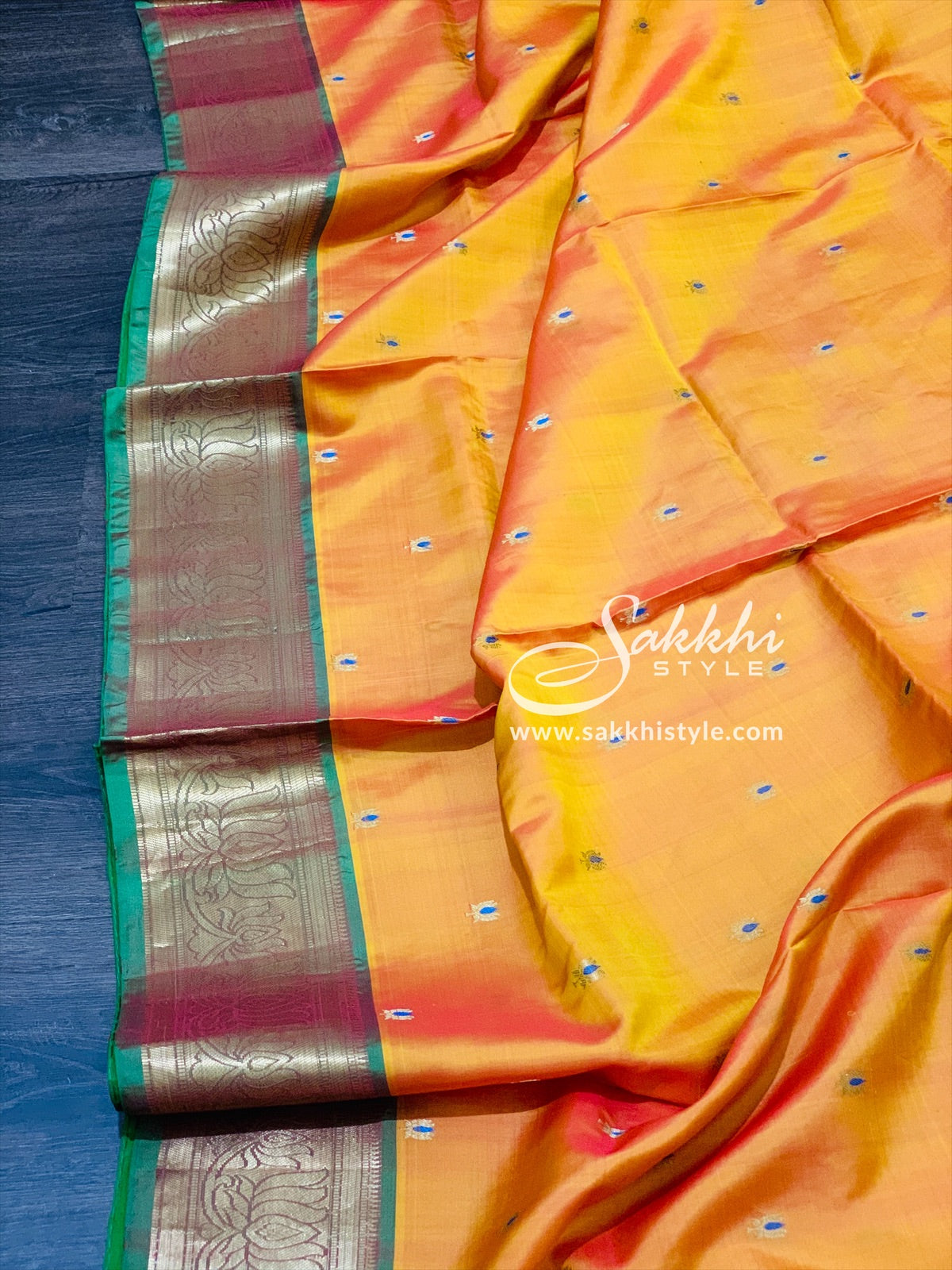 Yellow and Orange Dual Tone Kanjeevaram Pattu Saree