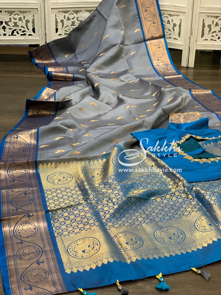 Grey and Blue Kanjeevaram Pattu Saree