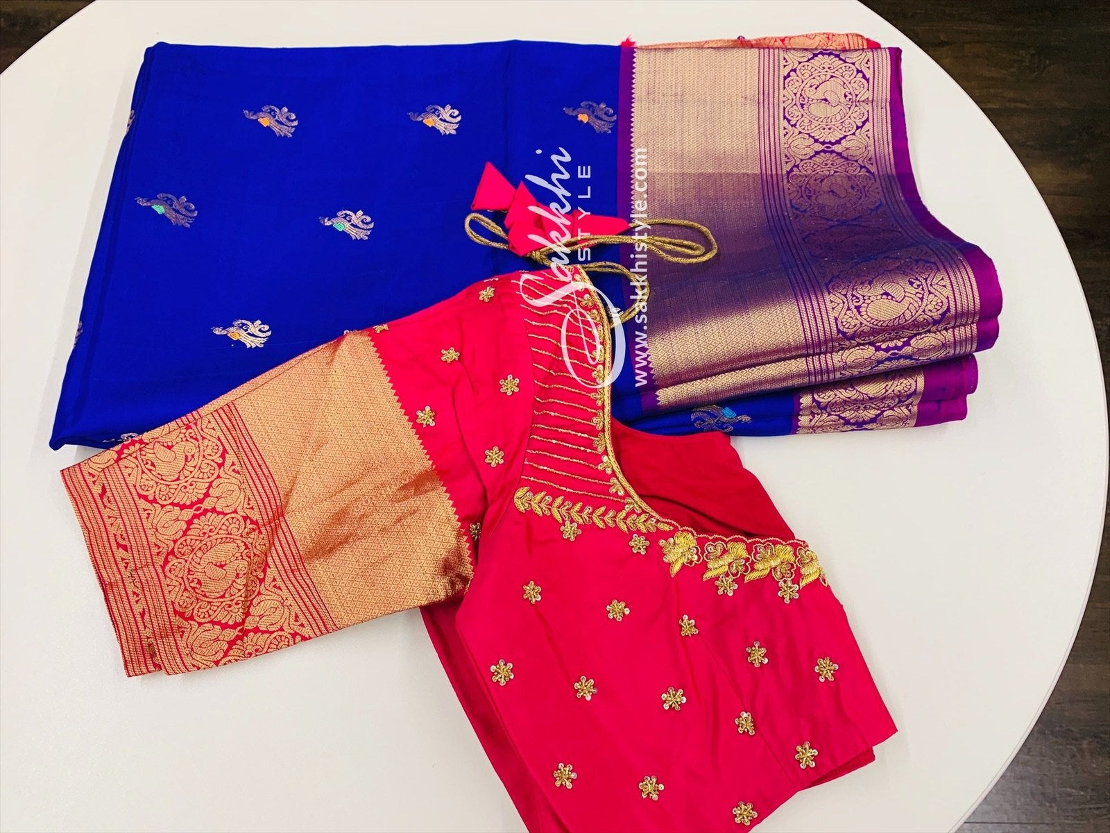 Blue and Pink Kanjeevaram Pattu Saree