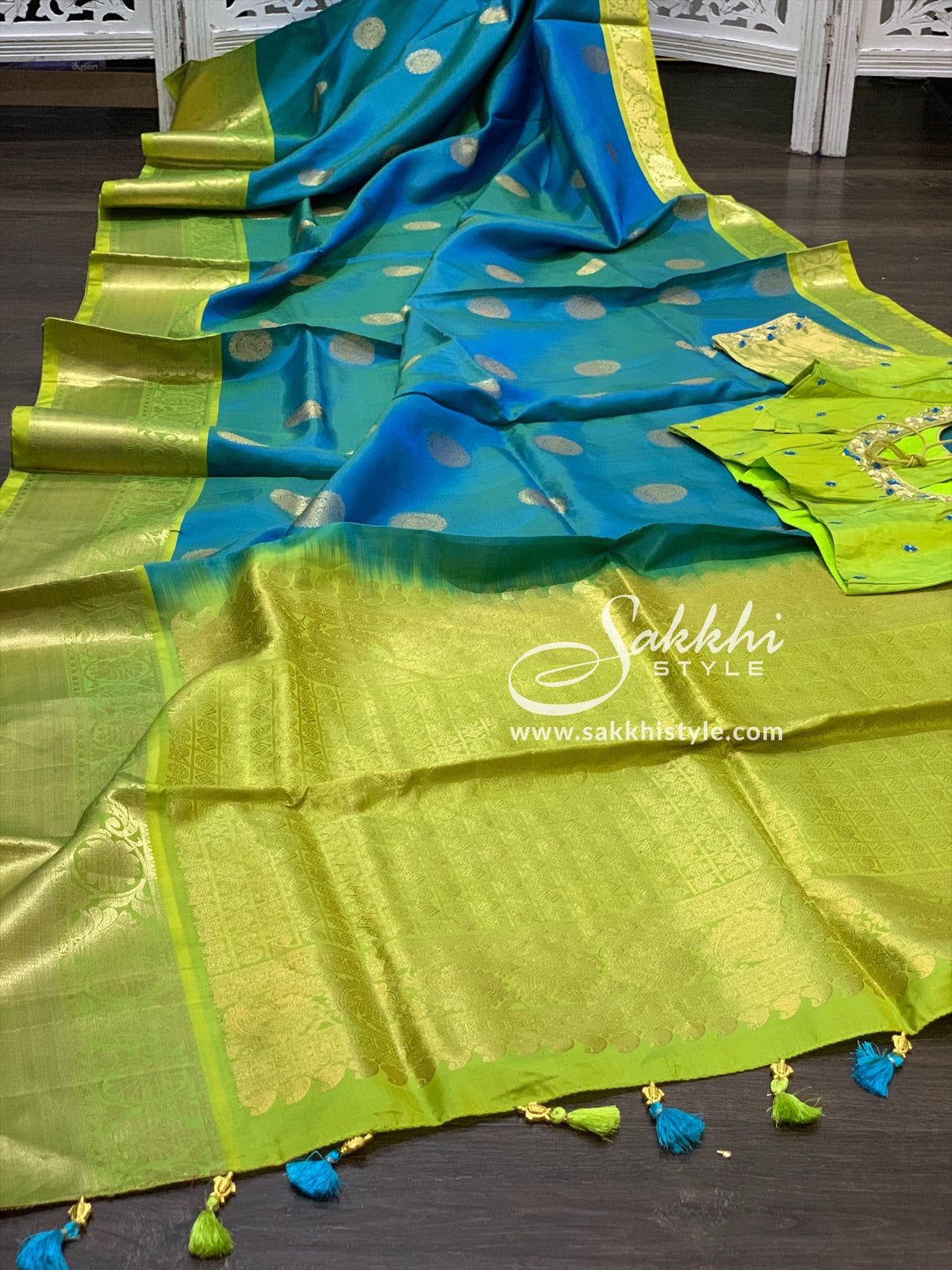 Blue and Green Kanjeevaram Pattu Saree
