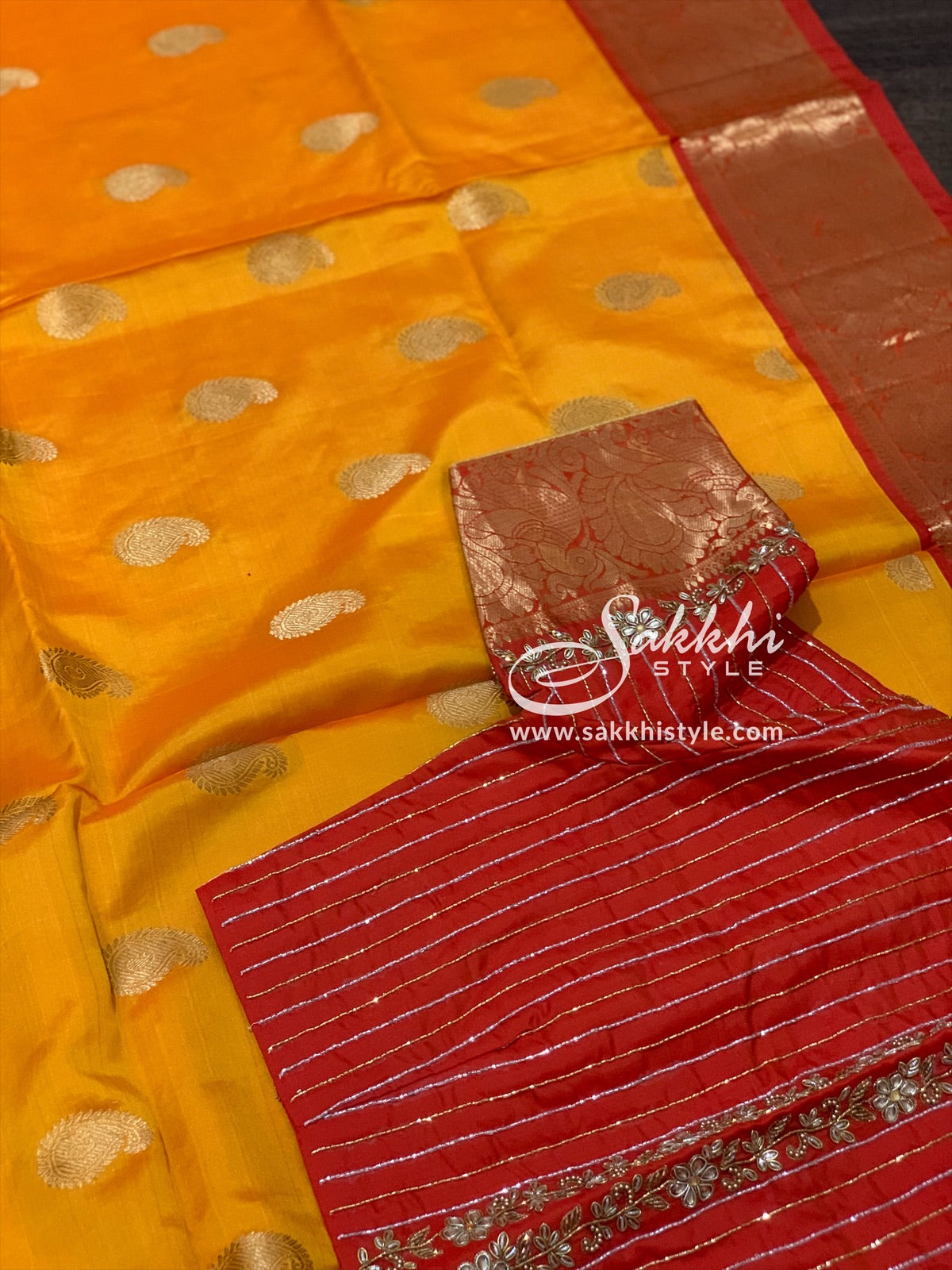 Yellow and Orange Kanjeevaram Pattu Saree