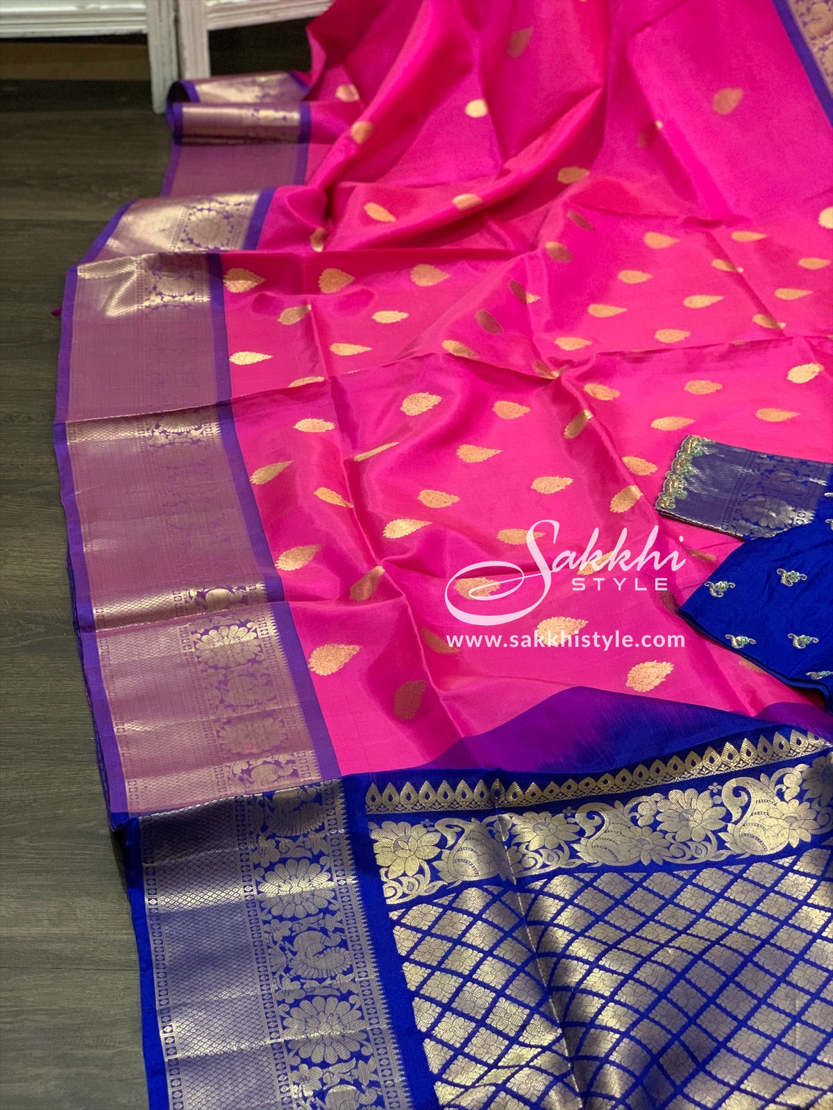Pink and Blue Kanjeevaram Pattu Saree