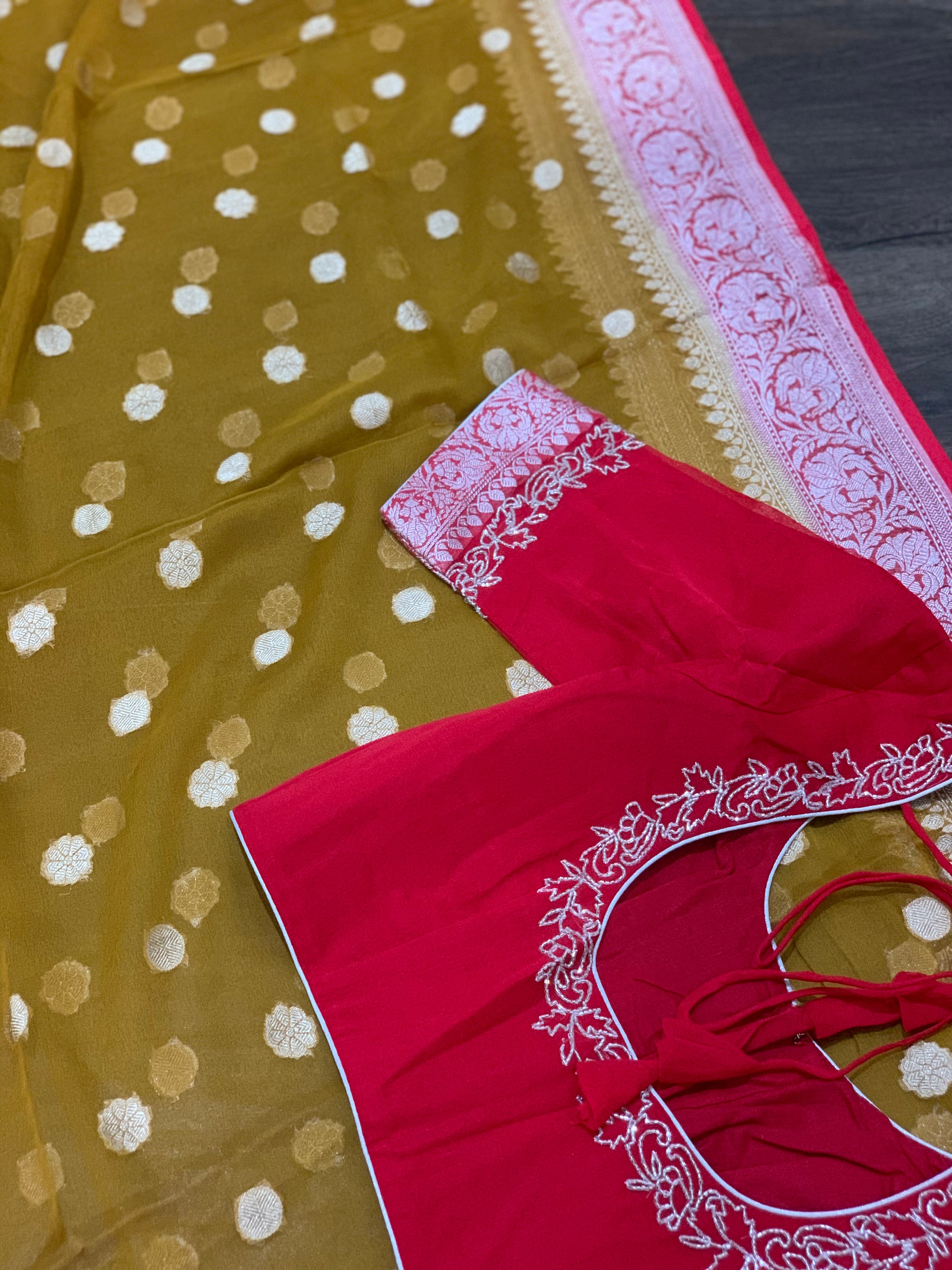 Brown and Red Pure Georgette Saree
