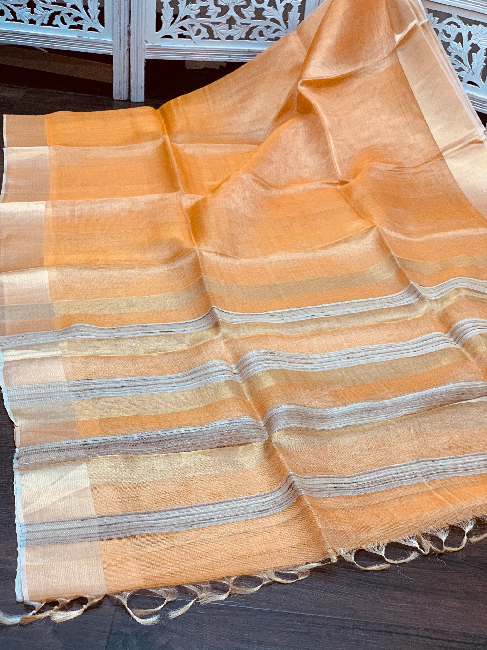 Peach Linen Tissue Saree