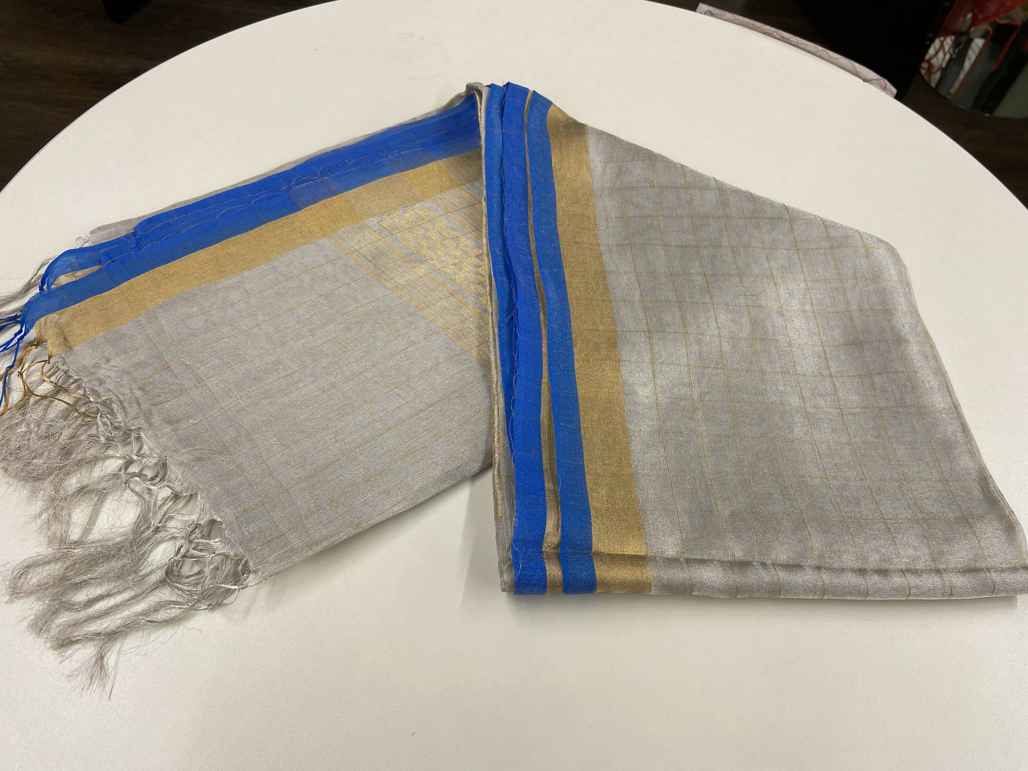 Silver and Blue Linen Tissue Saree