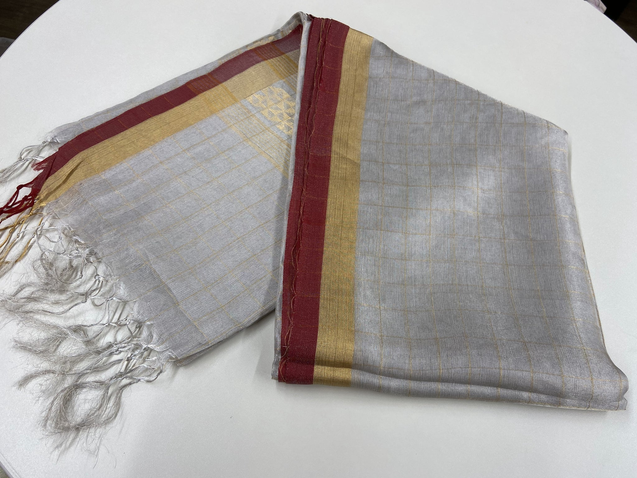 Silver and Rust Linen Tissue Saree