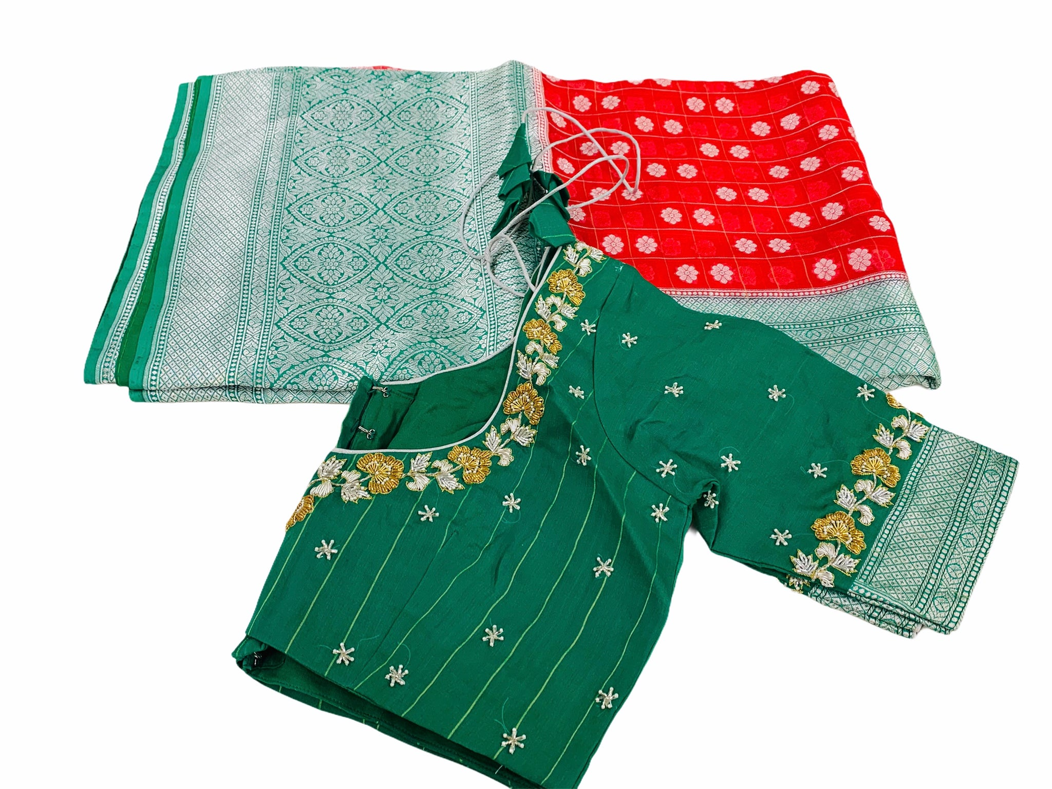Red and Green Kora Organza Saree