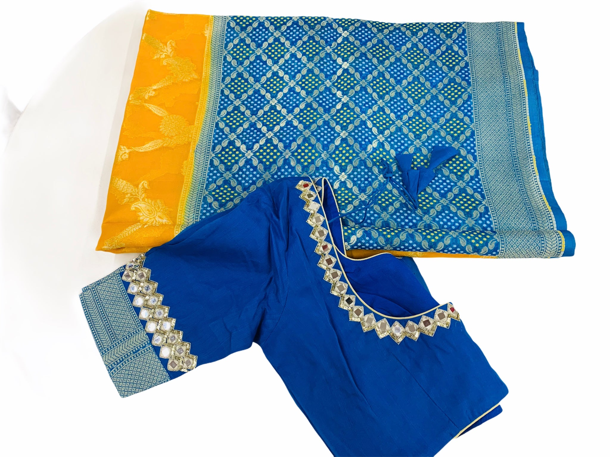 Yellow and Blue Kora Organza Saree