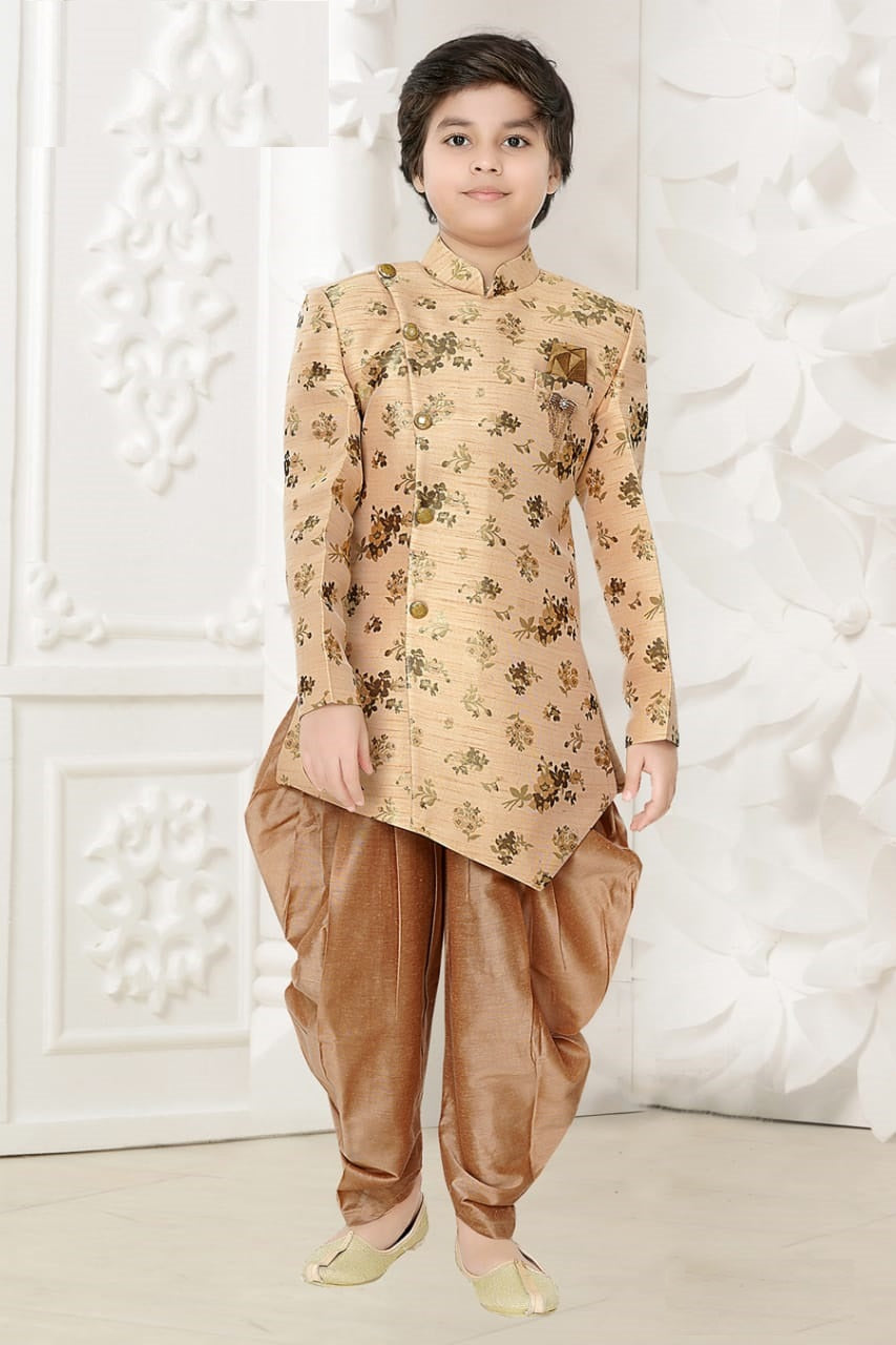 Peach and Gold Kurta Pyjama